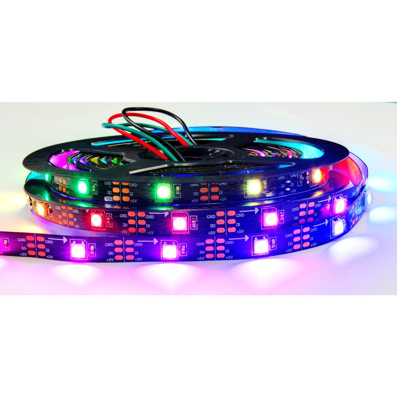 Diamex 5-m-LED-Streifen mit WS2812-kompatiblen-LEDs- 30 LEDs-m- schwarze Platine