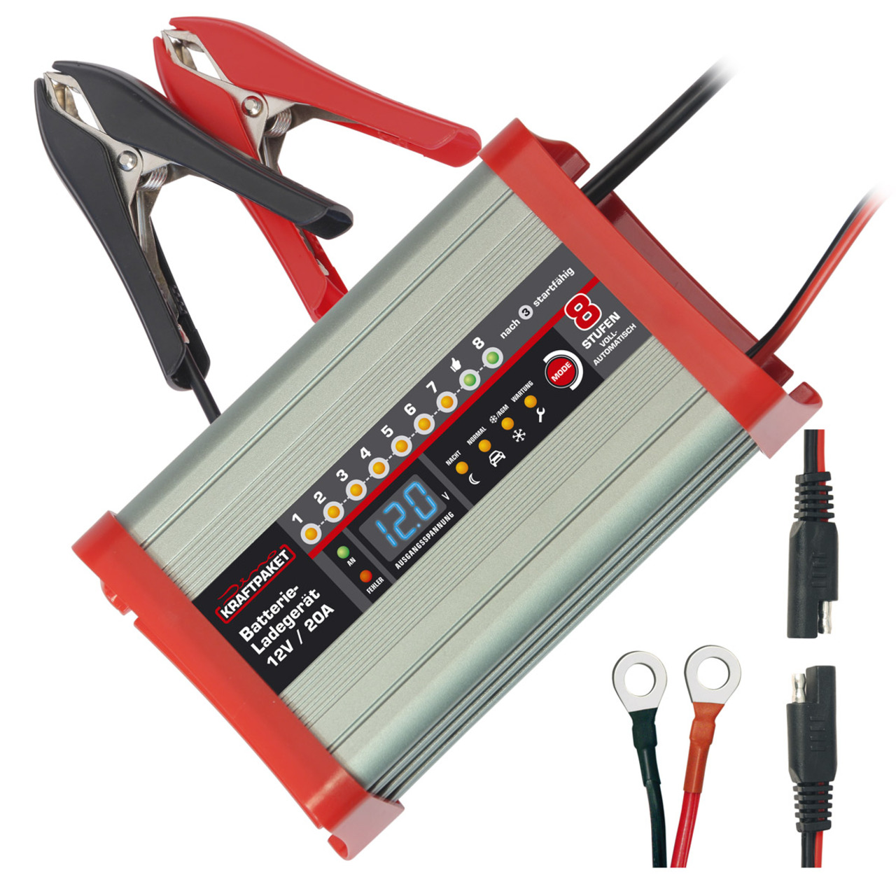 Dino KRAFTPAKET Kfz-Batterieladegerät- für 12-V-Batterien- 20 A-  Nacht- und Camping-Funktion
