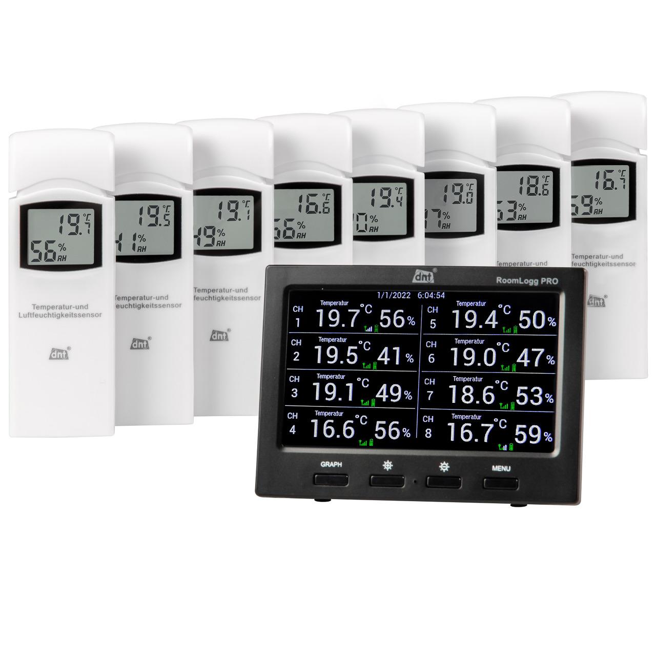 dnt Spar-Set Funk-Raumklimastation RoomLogg PRO- mit 8 Thermo-Hygrosensoren und Auswertesoftware