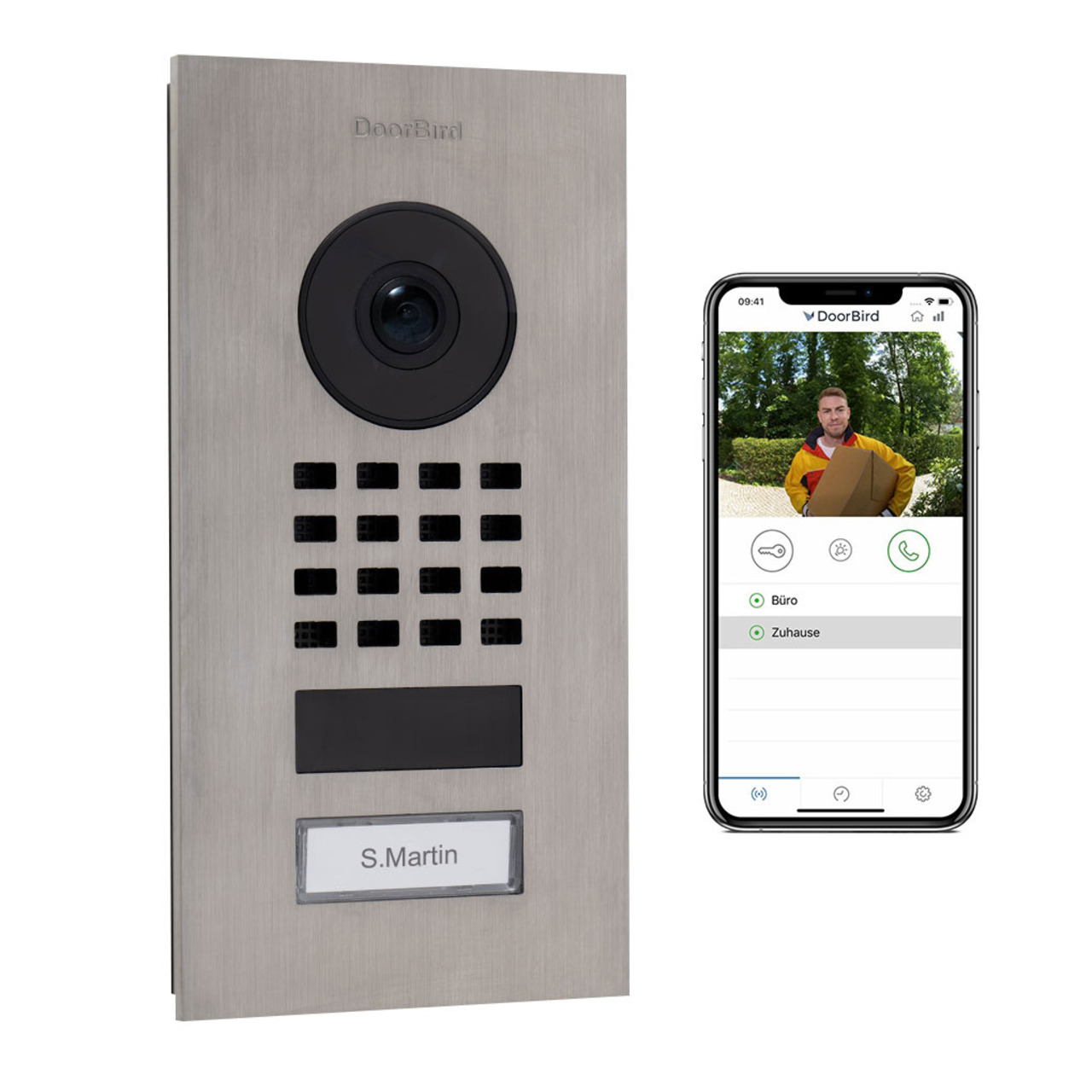 Doorbird WLAN-IP-Türsprechanlage D1101V- Edelstahl V2A- Unterputz