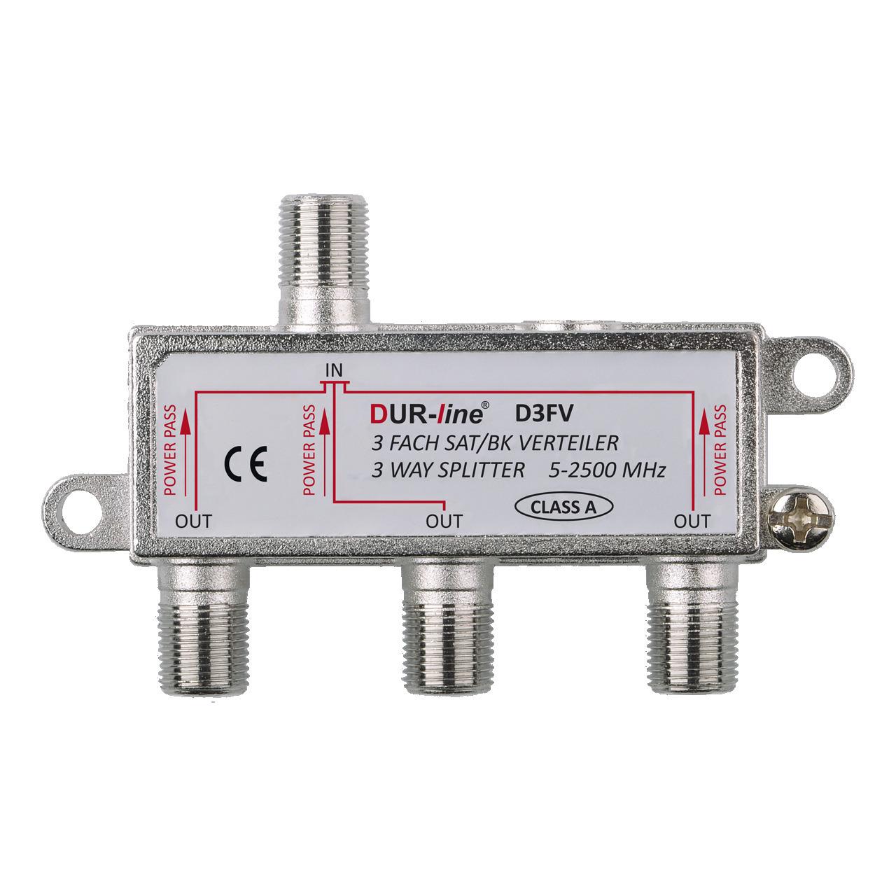 DUR-line 3-fach Sat-Verteiler D3FV- fund-252 r Sat- und Multimedia-Anwendungen- Schirmungsmaund-223  100 dB