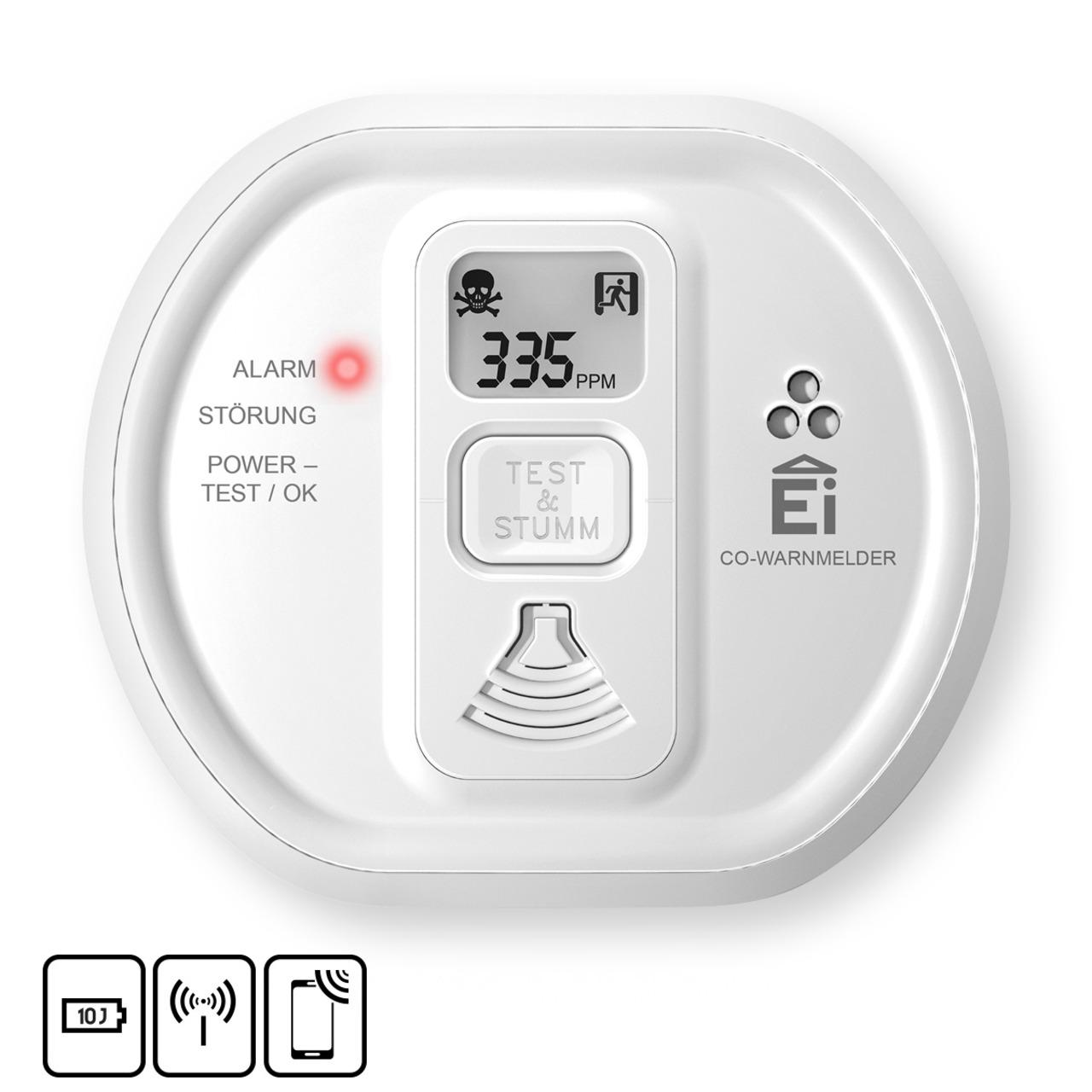 Ei Electronics Kohlenmonoxidwarnmelder Ei208iDW mit Display - AudioLINK- i-serie- 10 Jahres-Batterie