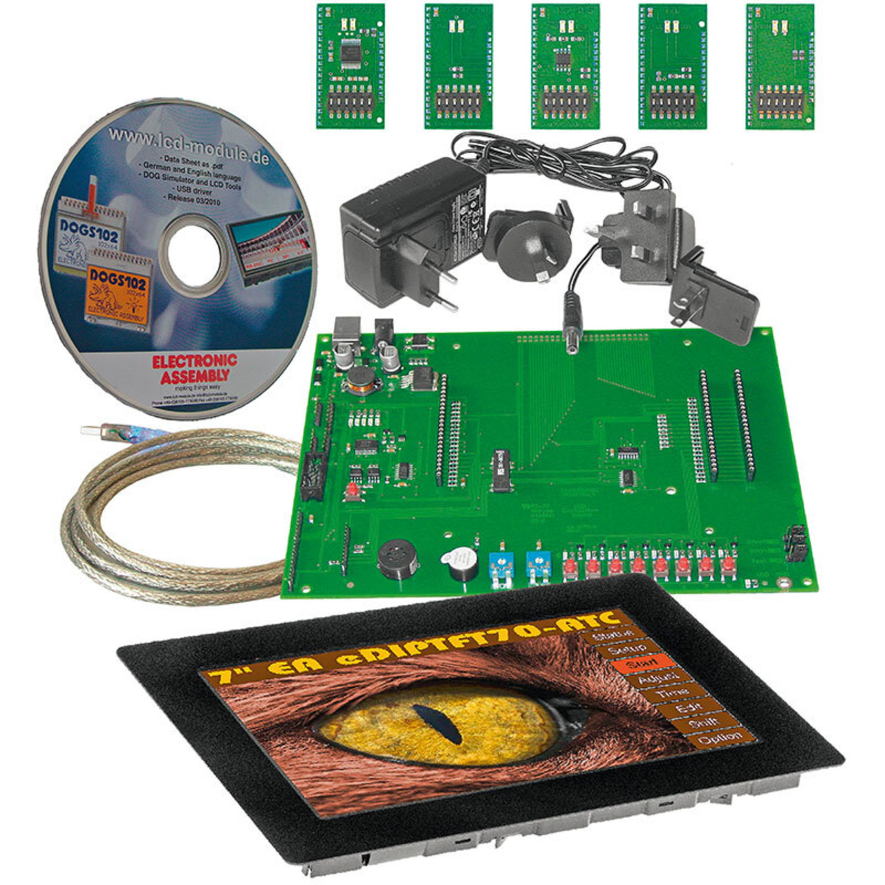Electronic Assembly Starterkit mit Grafik-LCD EA EVALeDIPTFT70TC- 800 x 480 Pixel