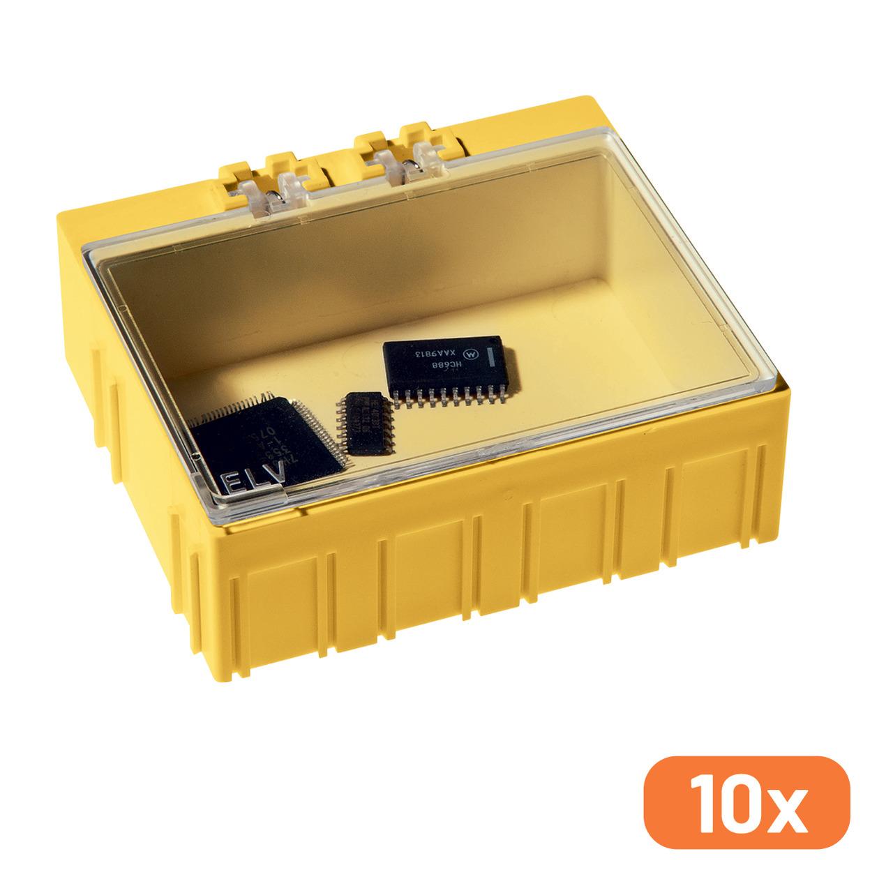 ELV 10er-Set SMD-Sortierbox- Gelb- 23 x 62 x 54 mm
