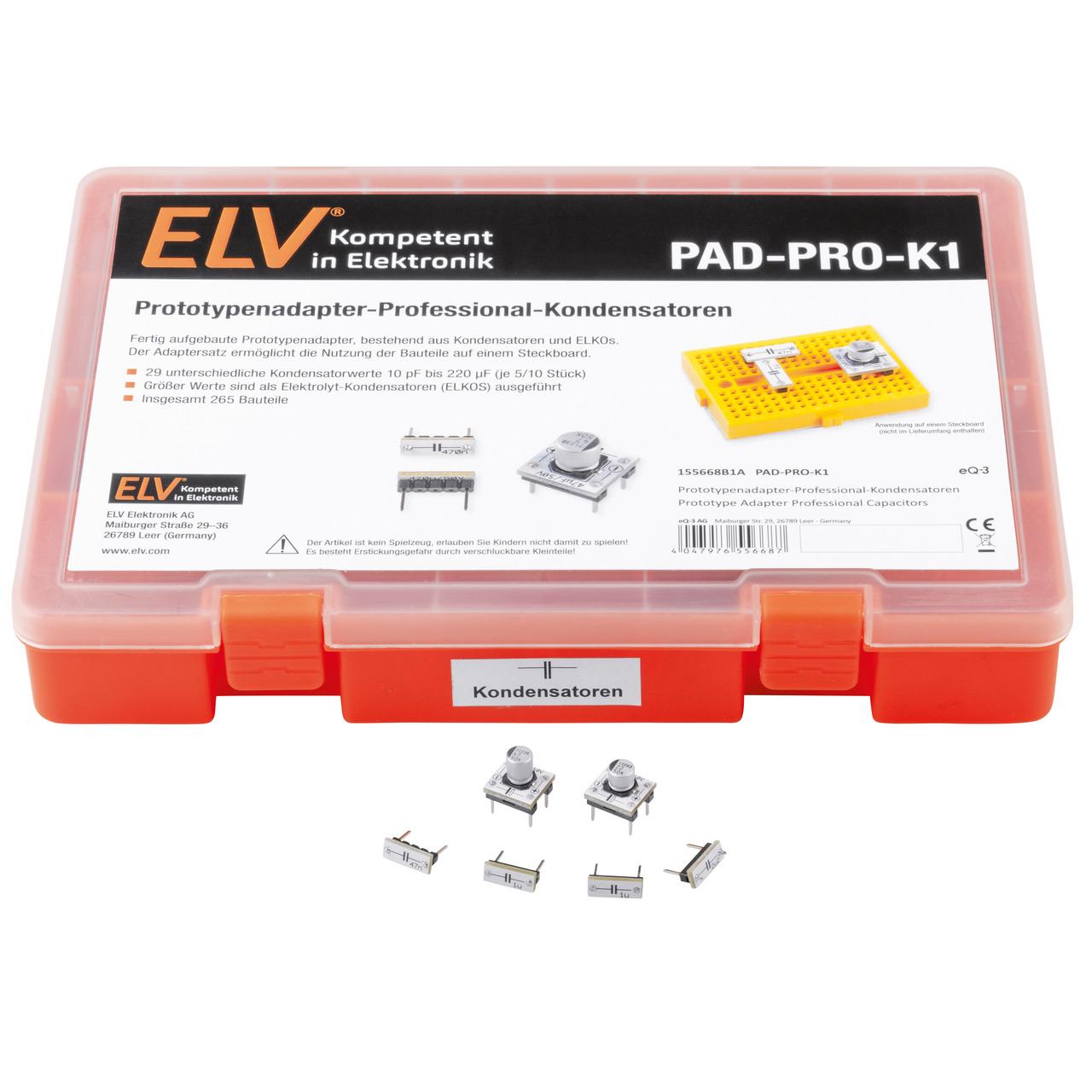 ELV Aufbewahrungsbox mit Kondensatoren und ELKOs PAD-PRO-K1- 275 Teile