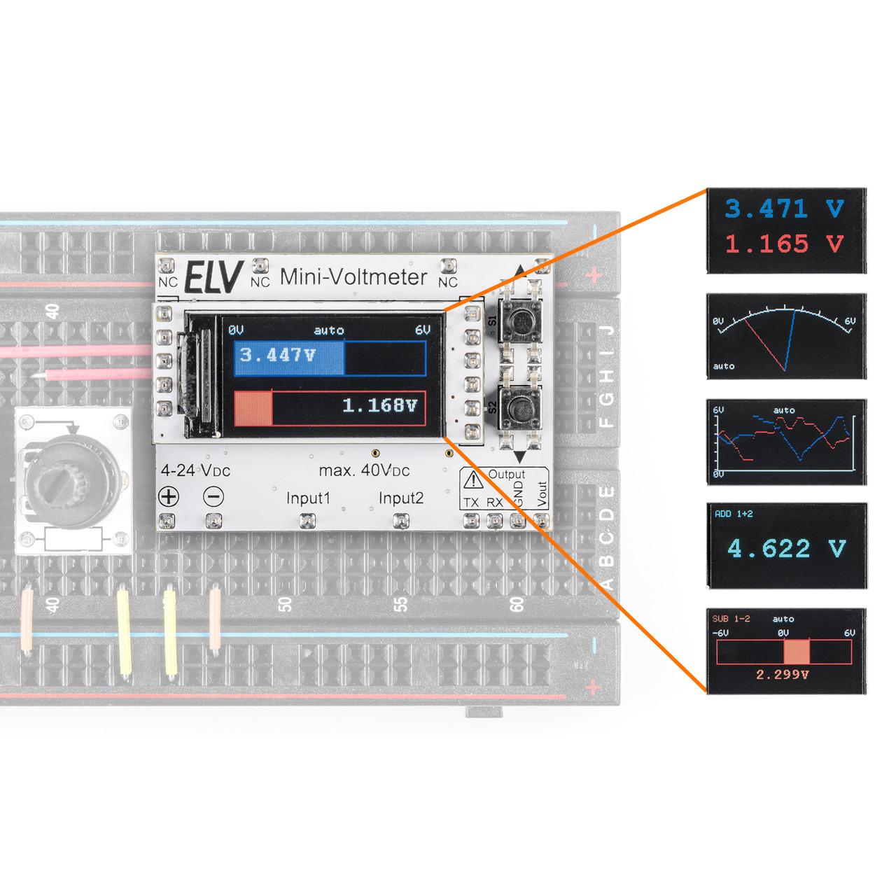 ELV Bausatz Mini-Voltmeter für Steckboards mit TFT-Display- MVM1