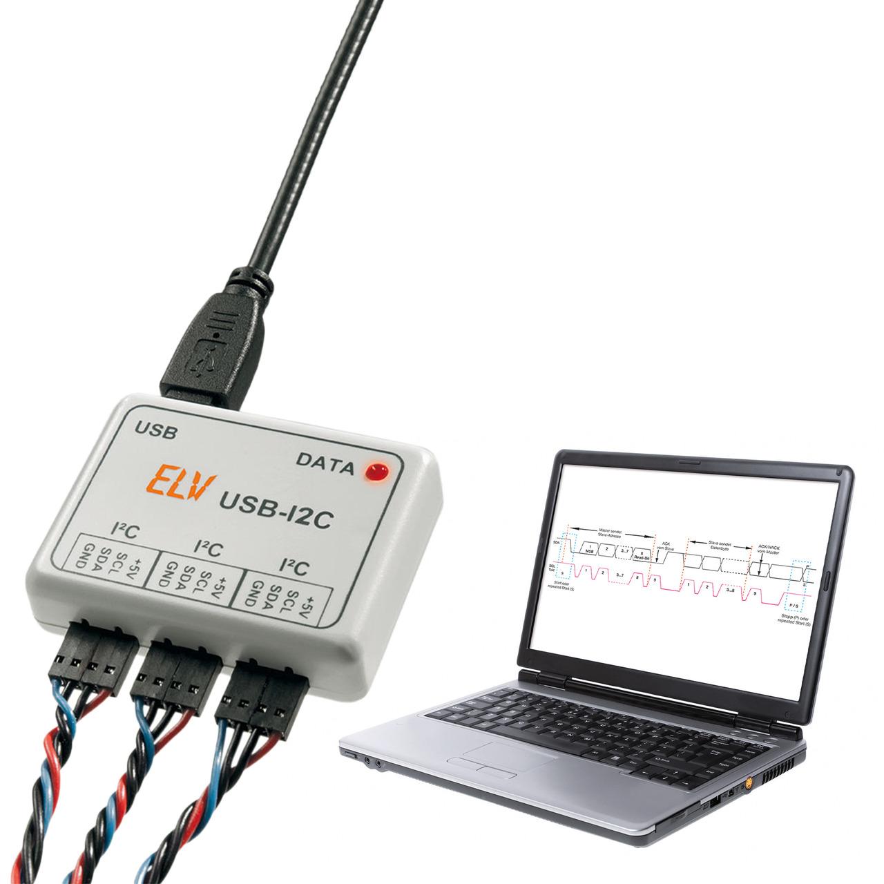 ELV Bausatz USB-I2C-Interface- inkl- Gehäuse- USB-Kabel- 3 Anschlusskabel