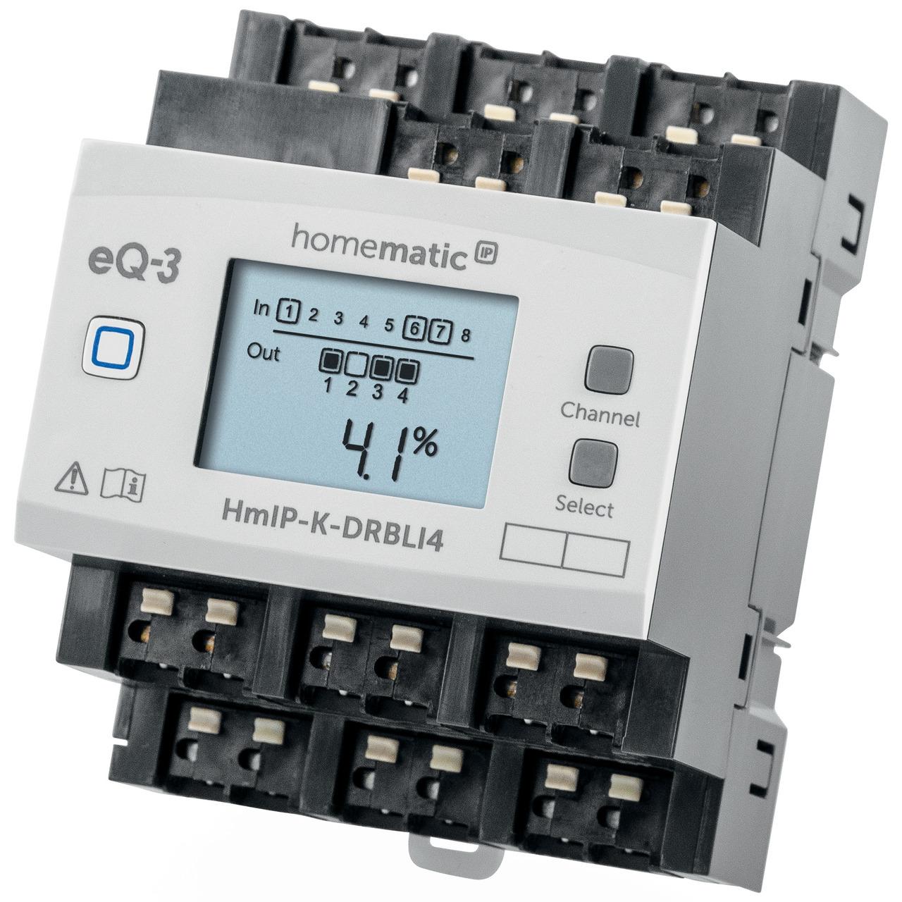 ELV Homematic IP Komplettbausatz 4fach Jalousie-Rollladenaktor für Hutschienenmontage HmIP-K-DRBLI4