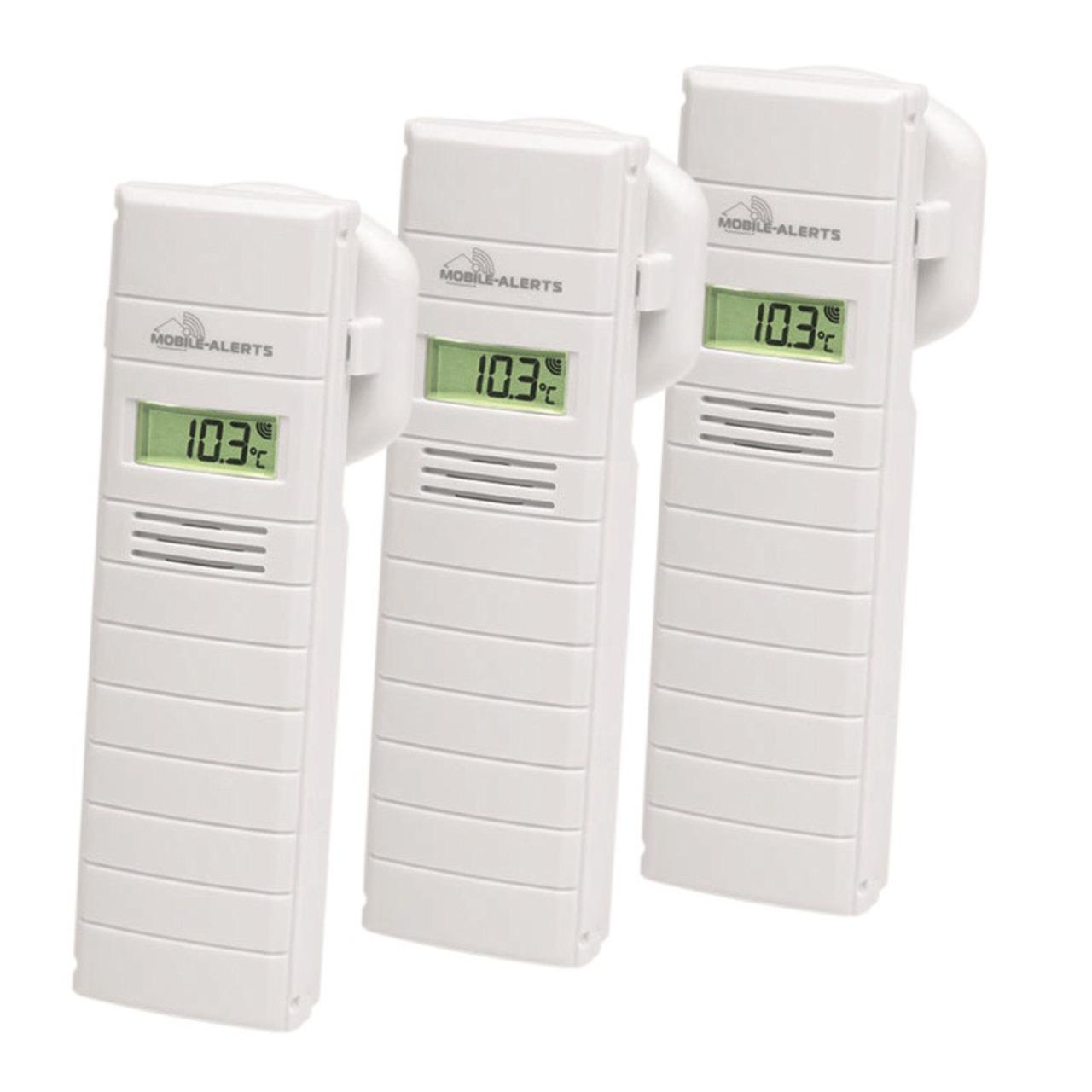 ELV Mobile Alerts Temperatur-Luftfeuchtigkeitssensor MA10200 mit LC-Display- 3er Set