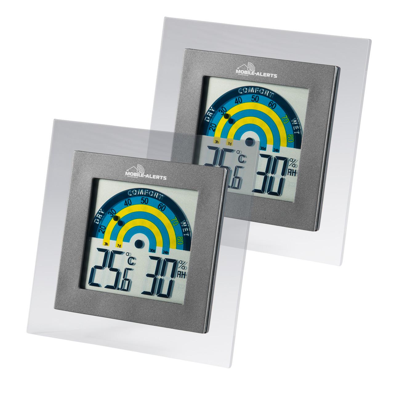 ELV Mobile Alerts Thermo-Hygrometer MA10230- mit Klimakomfortanzeige im Tagesverlauf- 2er-Set