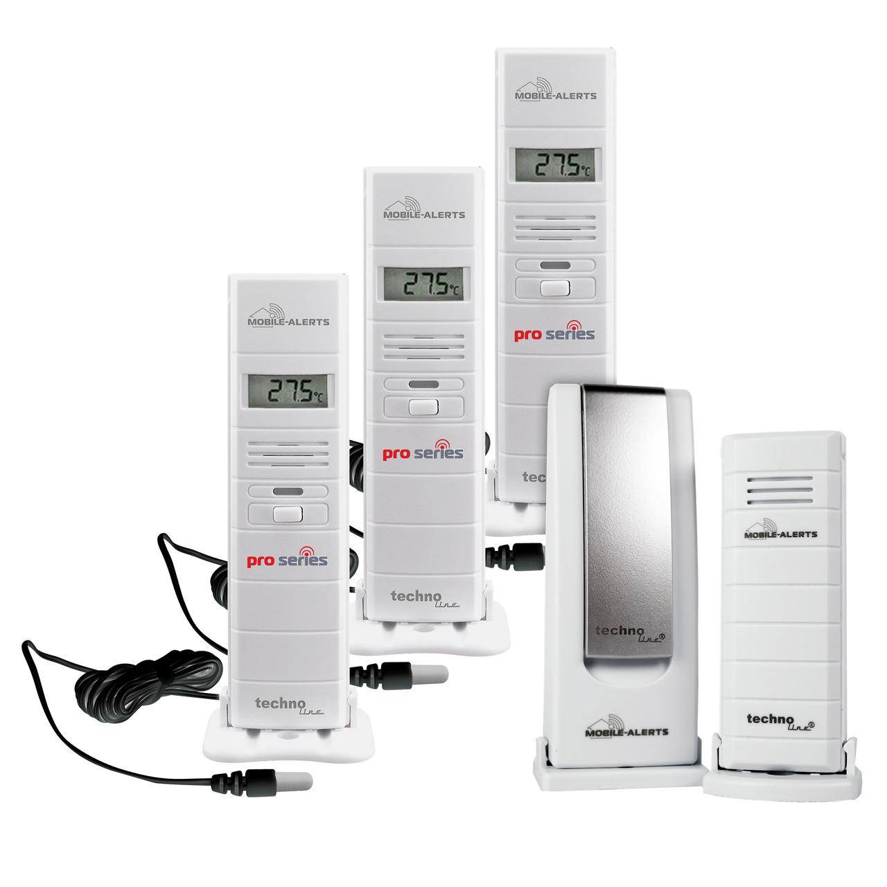 ELV Mobile Alerts Wetterset mit Gateway- Temperatursensor- 3x Thermo-Hygrosensor