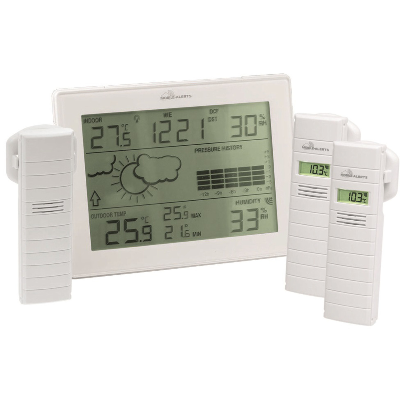 ELV Mobile Alerts Zusatzsensoren-Spar-Set: Wetterstation MA10410- inkl- 3x Thermo-Hygrosensor