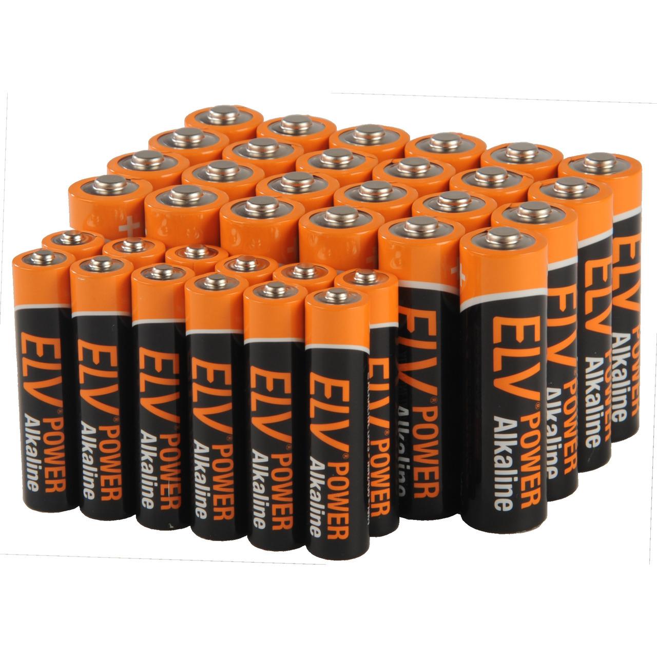 ELV POWER Alkaline Vorratspack-  12x Micro AAA und 24x Mignon AA