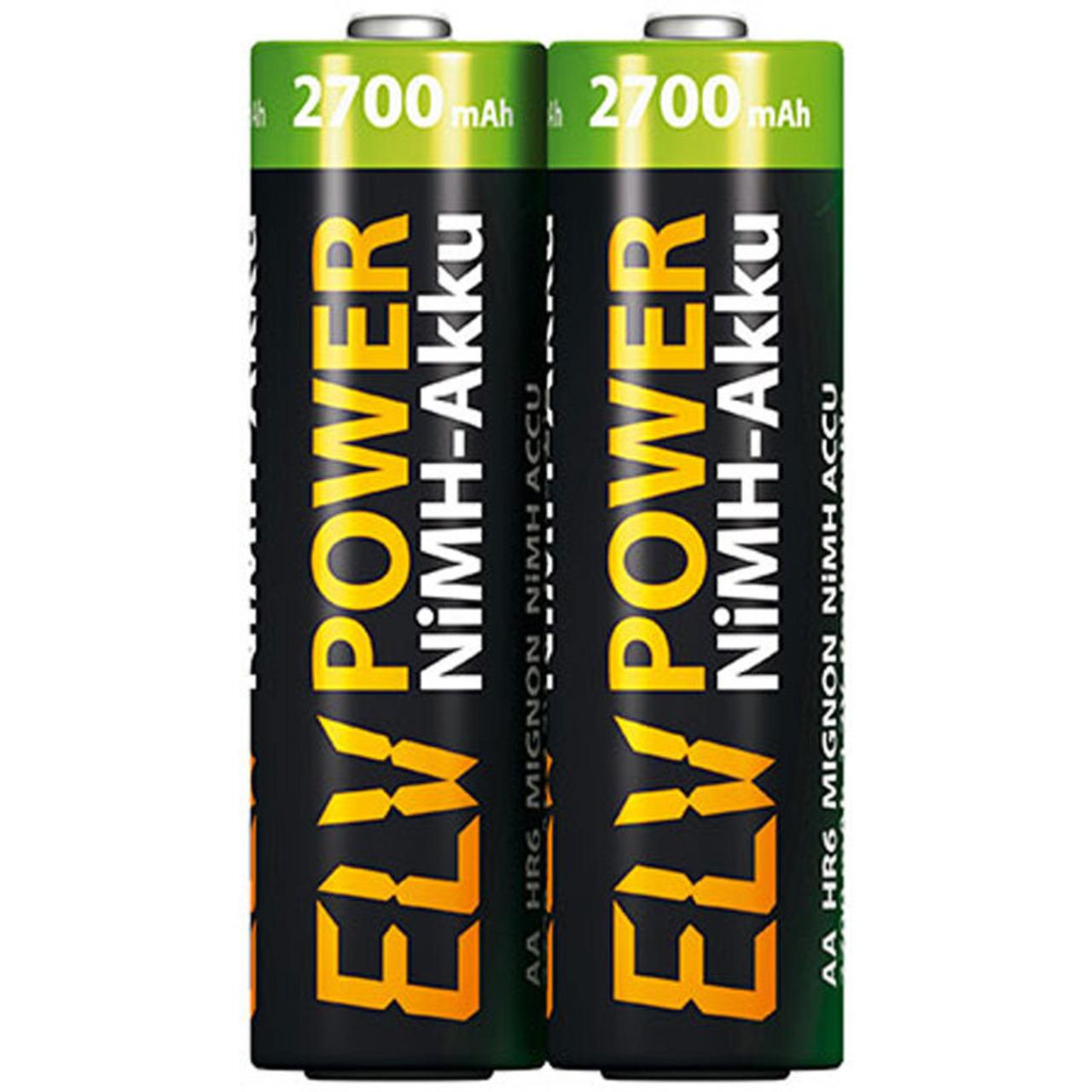 ELV Power NiMH-Akku Mignon Typ 2700- 2500 mAh- 2er Pack