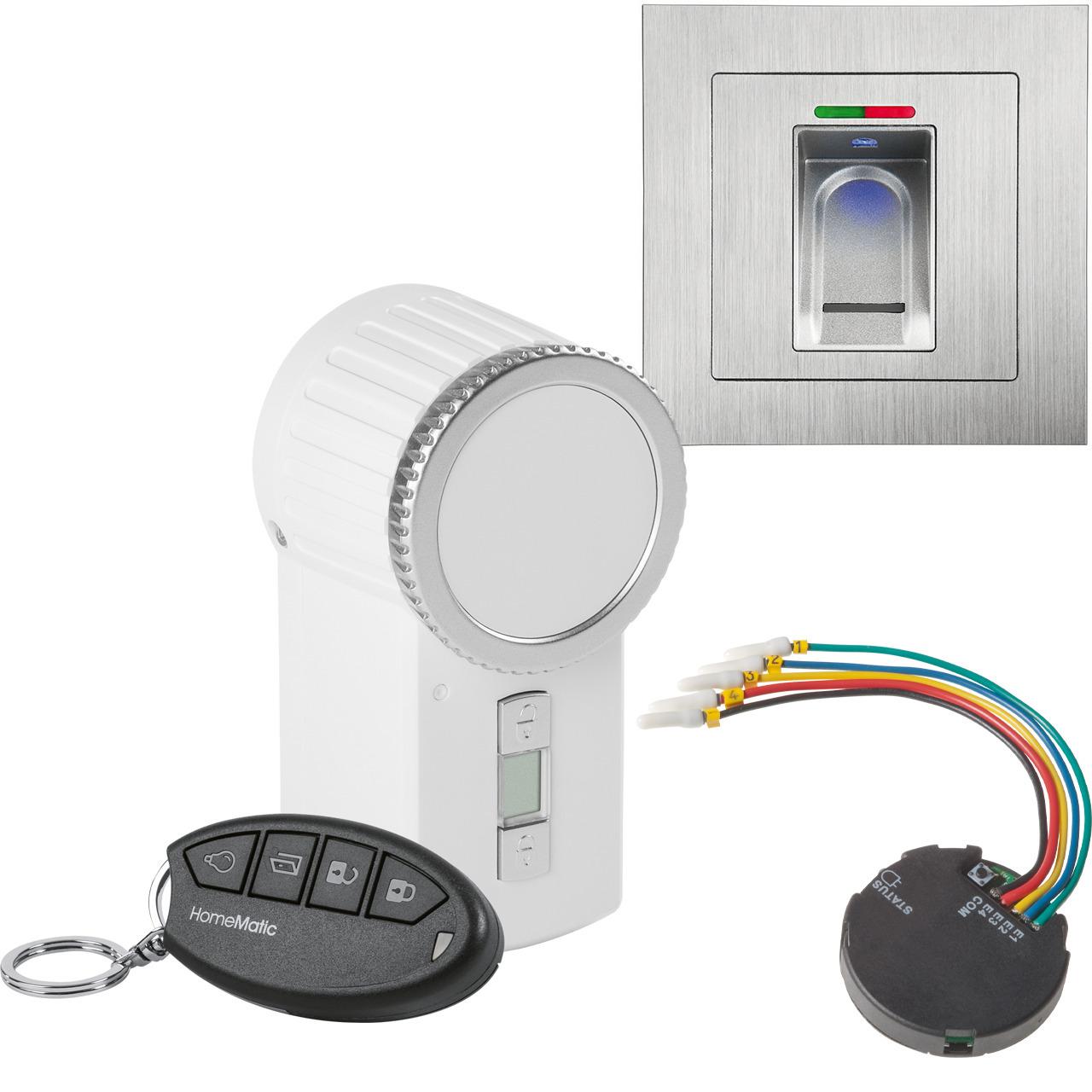 ELV Spar-Set mit BioKey Gate Fingerabdruckscanner (Aufputz) + Funk-Türschlossantrieb KeyMatic (weiss) + Funk-Tasterschnittstelle