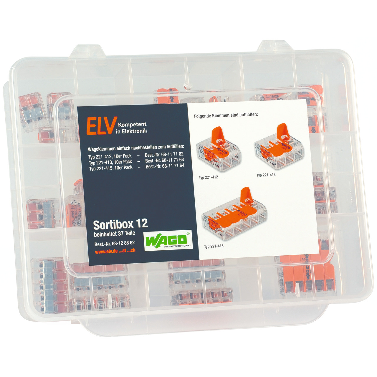 ELV Wago-Sortimentsbox Nr- 12 mit 37 Wago-Klemmen
