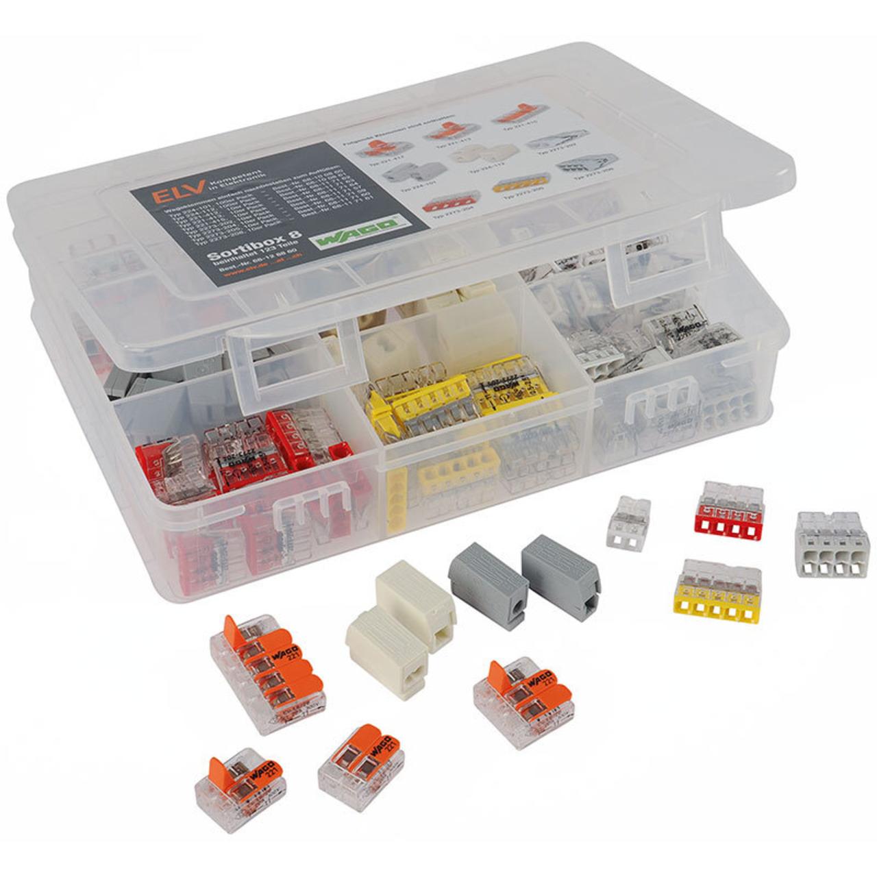 ELV Wago-Sortimentsbox Nr- 8 mit 123 Wago-Klemmen