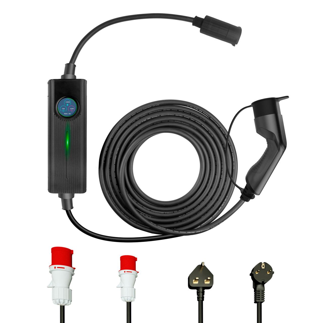 Em2Go EV-Ladeeinheit EM016CC mit max- 16 kW- Ready2Plug- inkl- Typ-2-Ladekabel (6 m)- 3-Phasig
