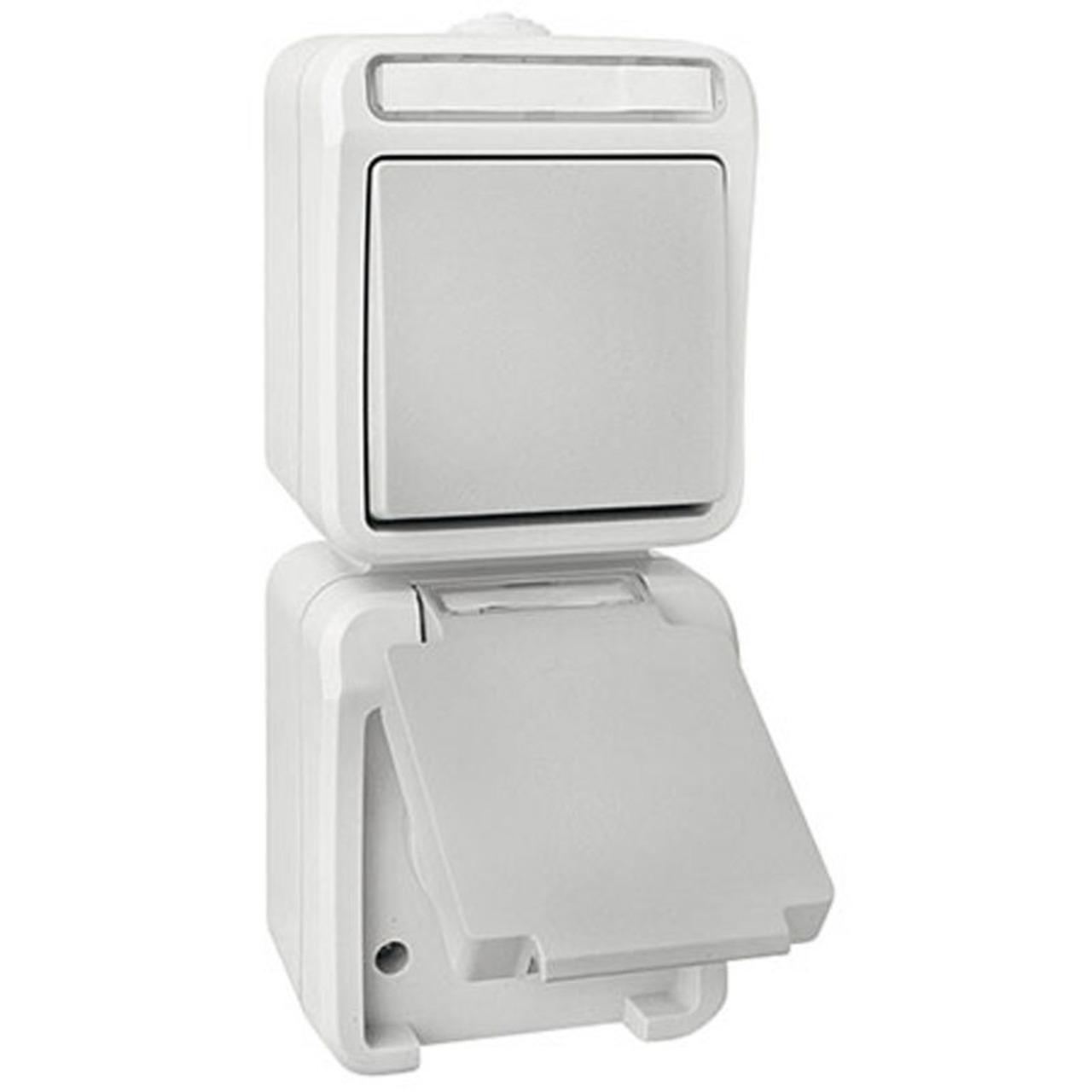 EMZ FR-AP Kombination Wechselschalter-Steckdose IP54- senkrecht