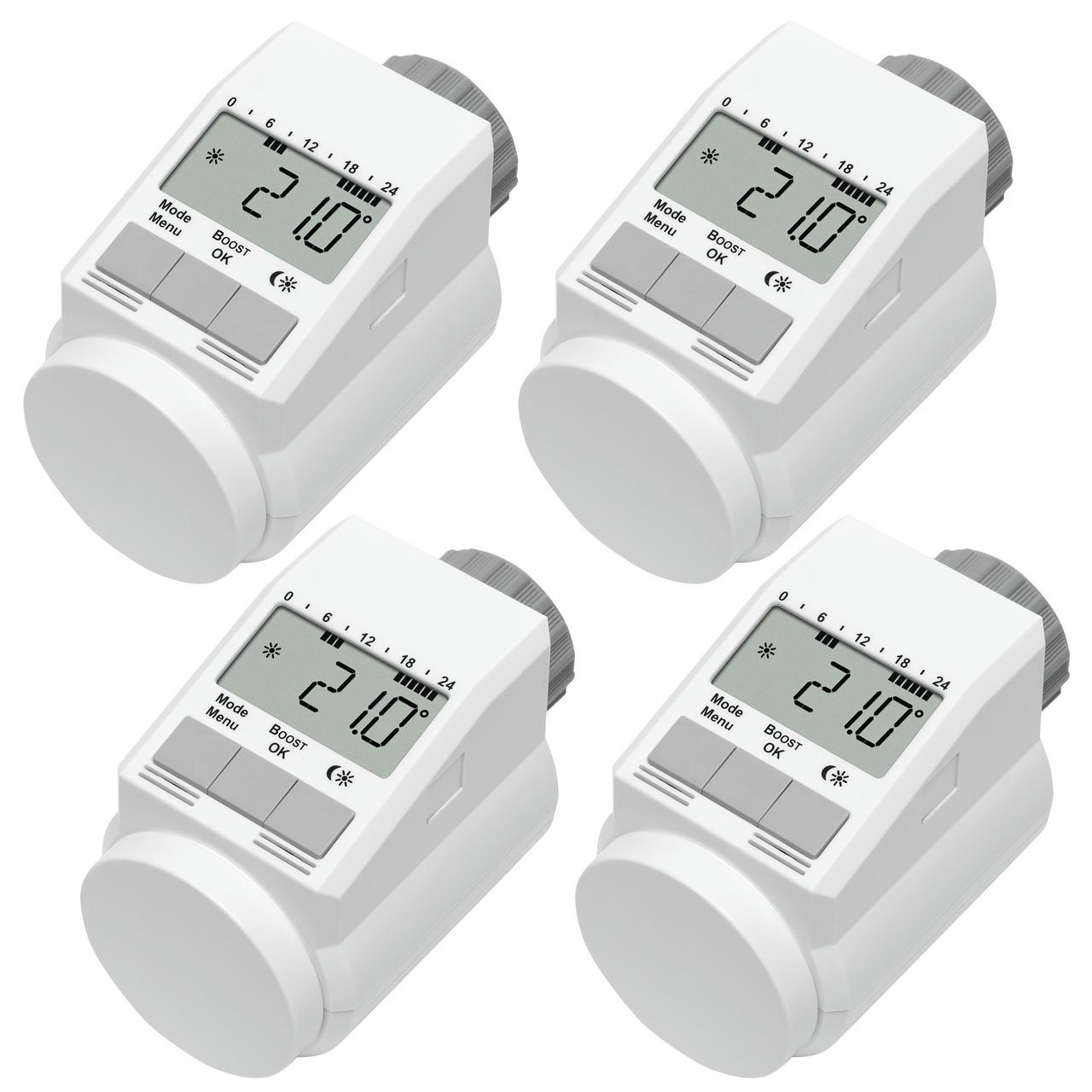Eqiva Model L Elektronik-Heizkörper-Thermostat mit Boost-Funktion- 4er-Set