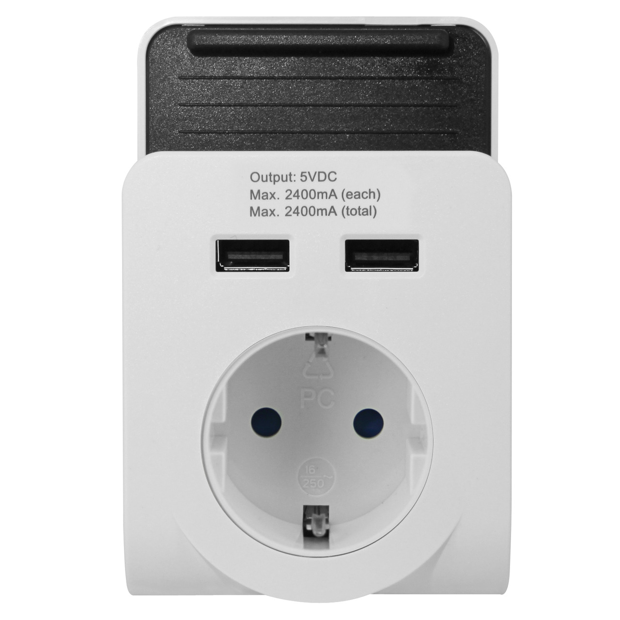 EverFlourish USB-Steckdosenadapter mit Smartphone-Halterung- 2x USB- 2-4 A