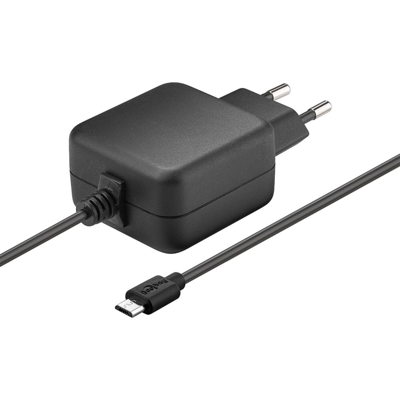 Goobay Micro-USB-Netzteil (5 V-3-1 A) für Raspberry Pi 1- 2- 3 (Raspberry Pi 4 mit Typ-C-Adapter)