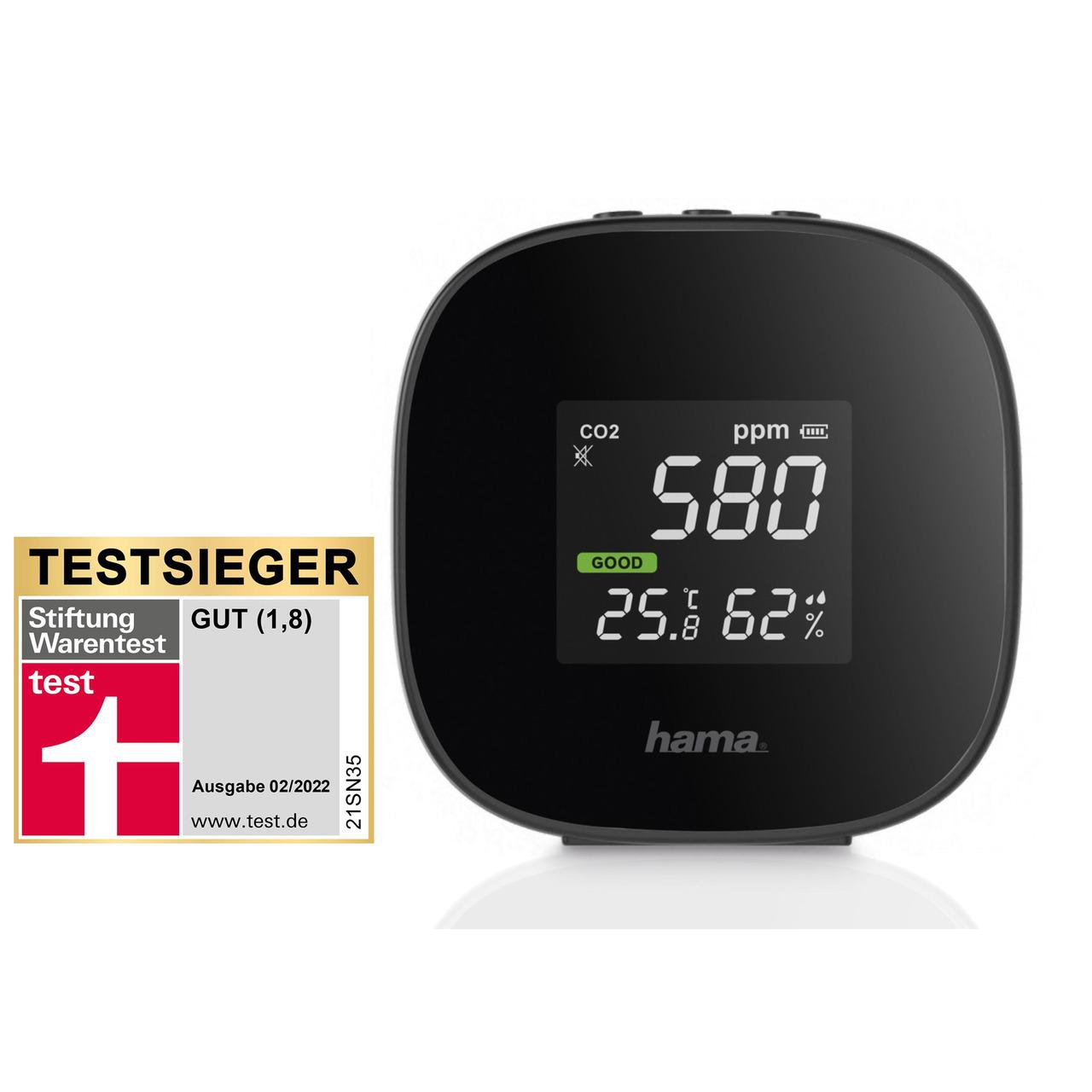 hama CO2-Messgerät - CO2-Anzeige Safe- Kohlendioxid- Ampel-Anzeige- mit integriertem Akku