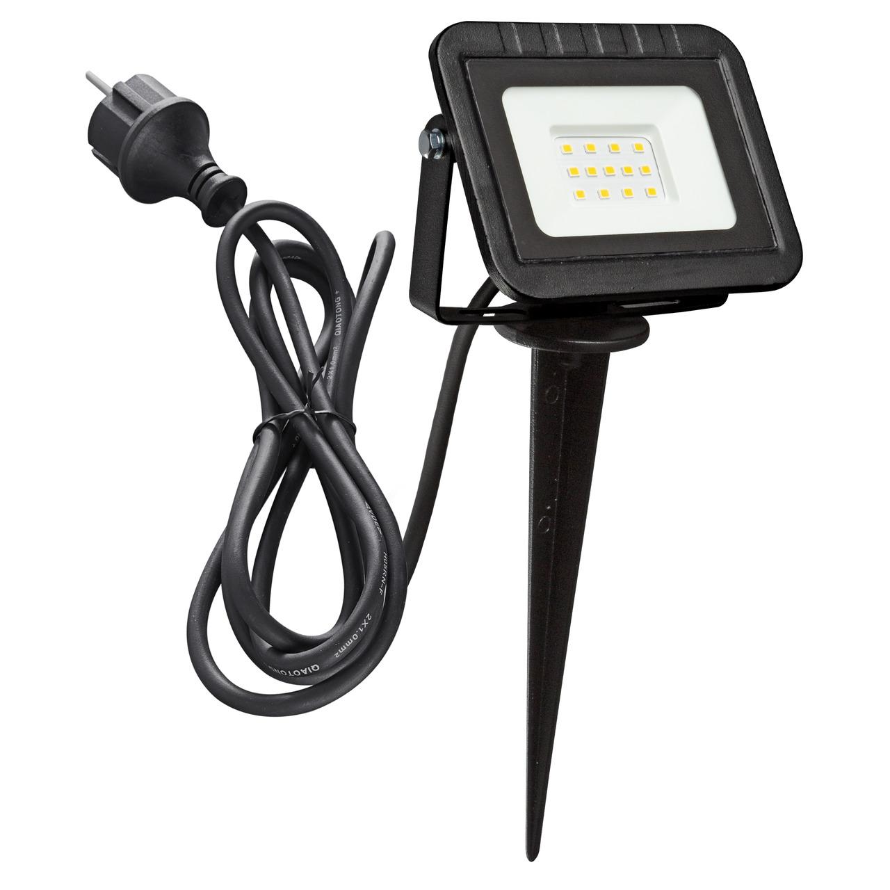 HEITRONIC 10-W-LED-Flutlichtstrahler YORK- mit Erdspiess- Anschlussleitung mit Stecker- IP44- schwarz