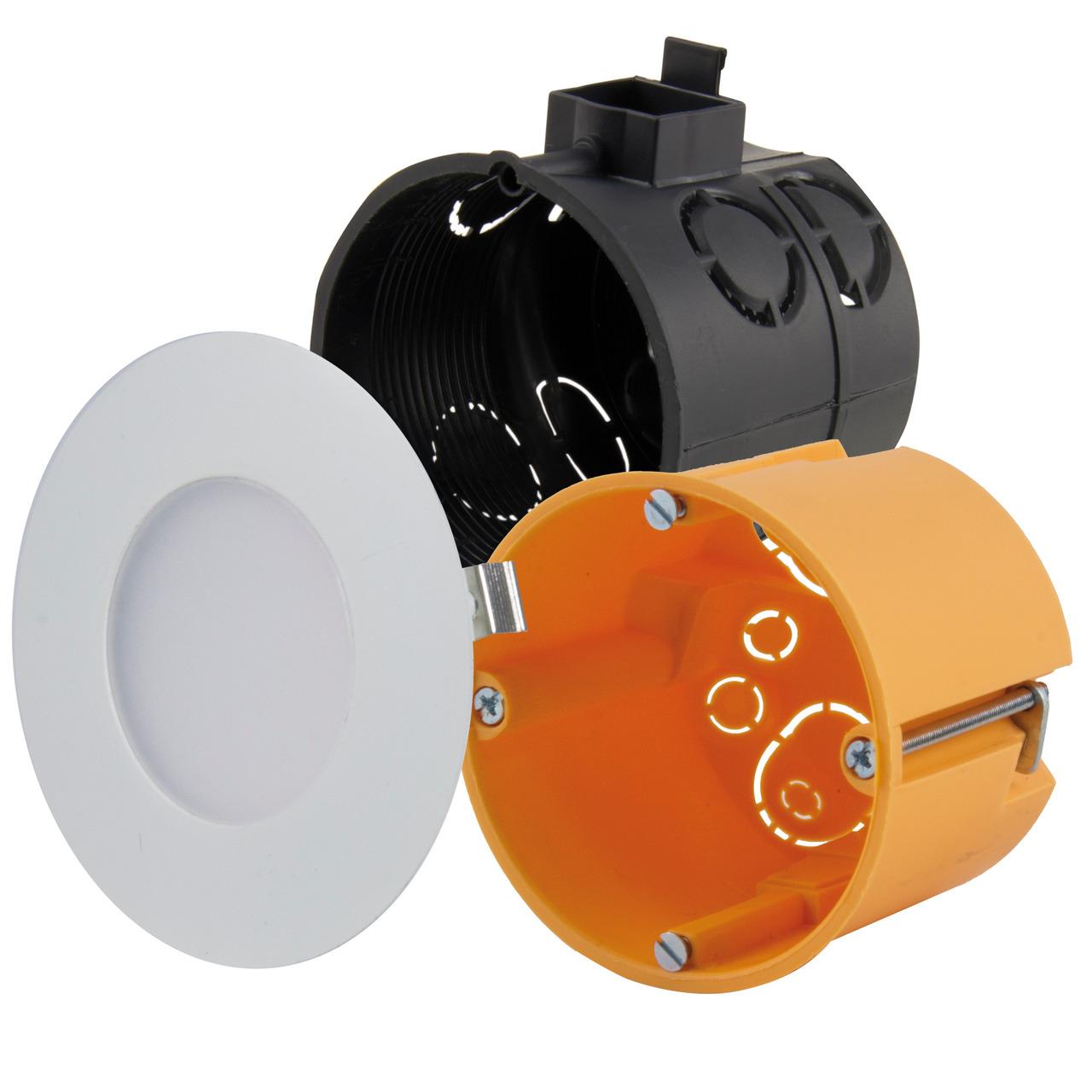 HEITRONIC 2-W-LED-Einbaupanel Nizza- passt in Schalter- und Hohlwanddosen- rund- weiss- IP20