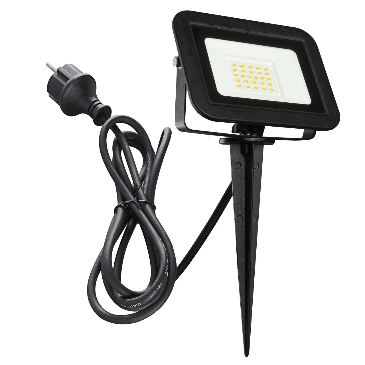 HEITRONIC 20-W-LED-Flutlichtstrahler YORK- mit Erdspiess- Anschlussleitung mit Stecker- IP44- schwarz