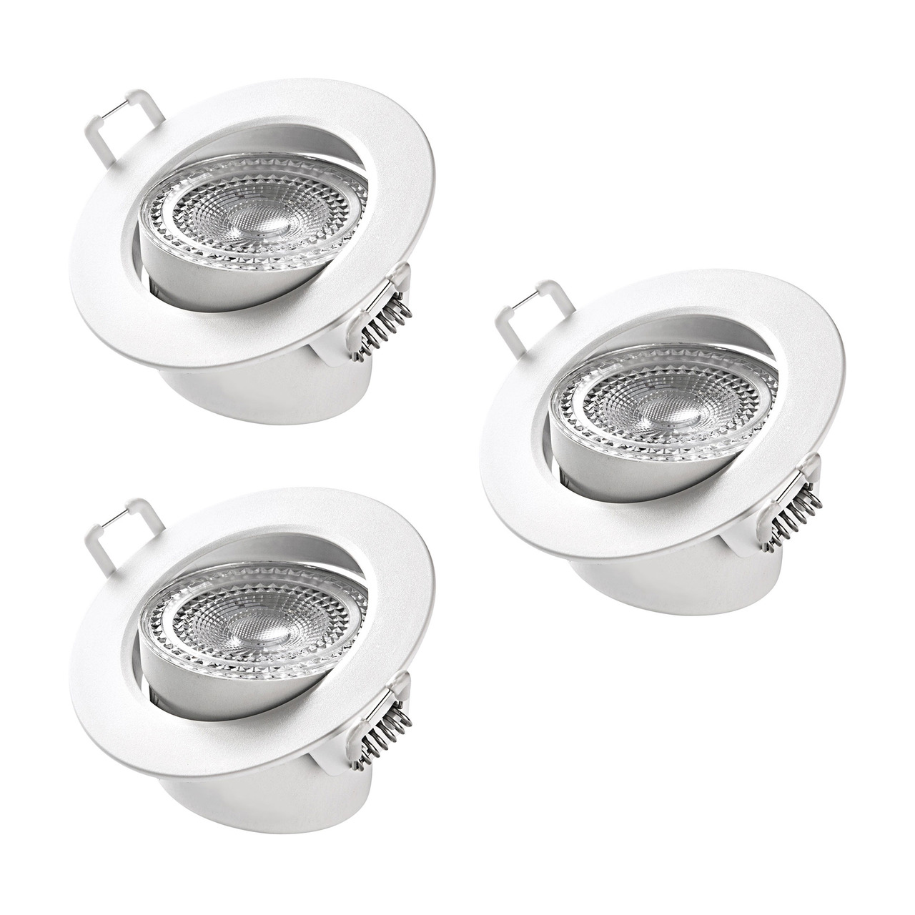 HEITRONIC 3er-Spar-Set - 5-5-W-LED-Einbaustrahler DL7002- austauschbare Kunststoffringe- schwenkbar