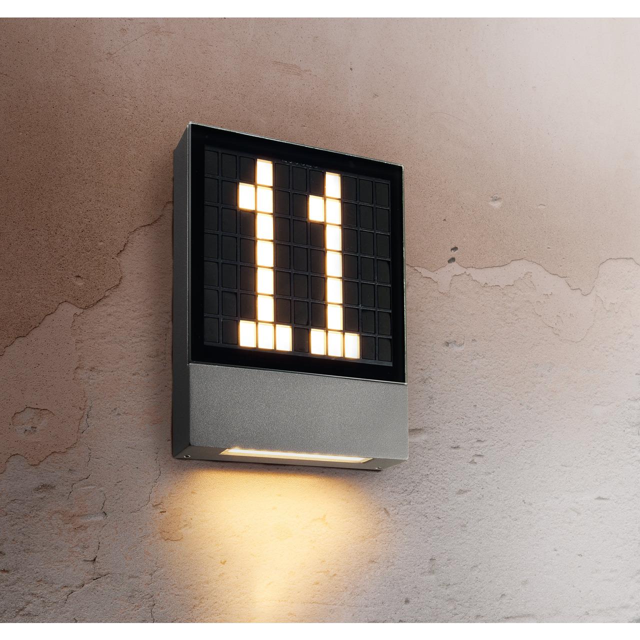 HEITRONIC 4-5-W-LED-Hausnummernleuchte Pavia- Ziffern steckbar- Aluminium-Gehund-228 use- 230 V AC- IP54