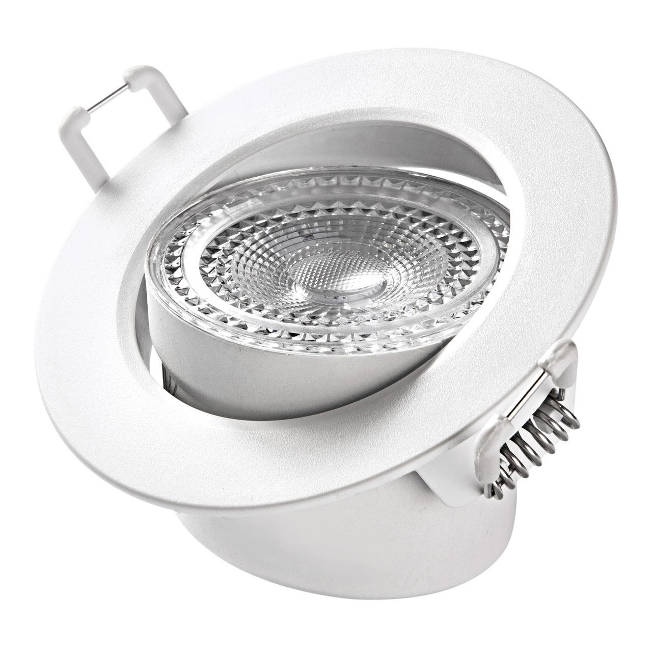 HEITRONIC 5-5-W-LED-Einbaustrahler DL7002- austauschbare Kunststoffringe- schwenkbar- 3000 K- IP44