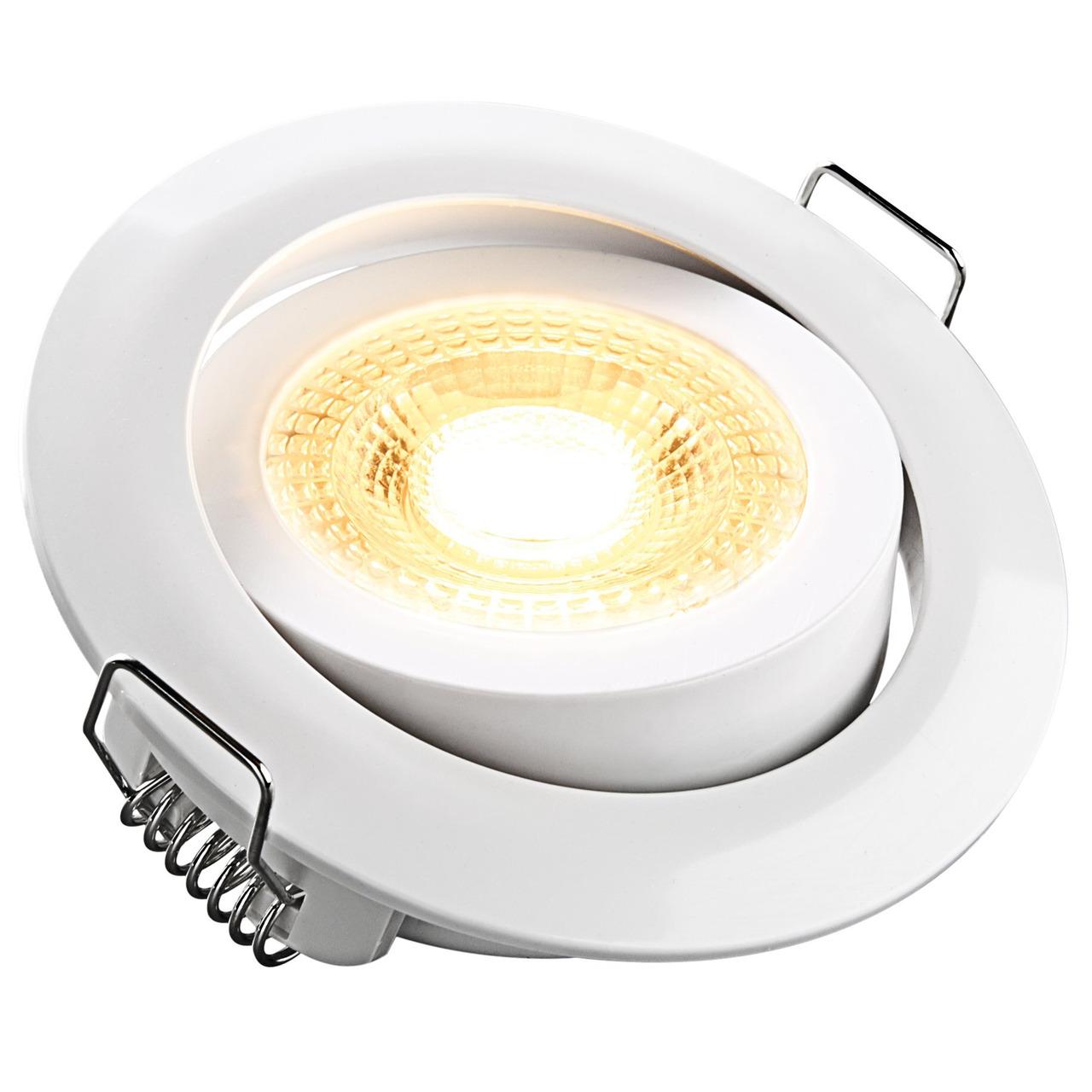 HEITRONIC 5-W-LED-Einbaustrahler DL7202- rund- schwenkbar- weiss- dimmbar per Lichtschalter- IP20