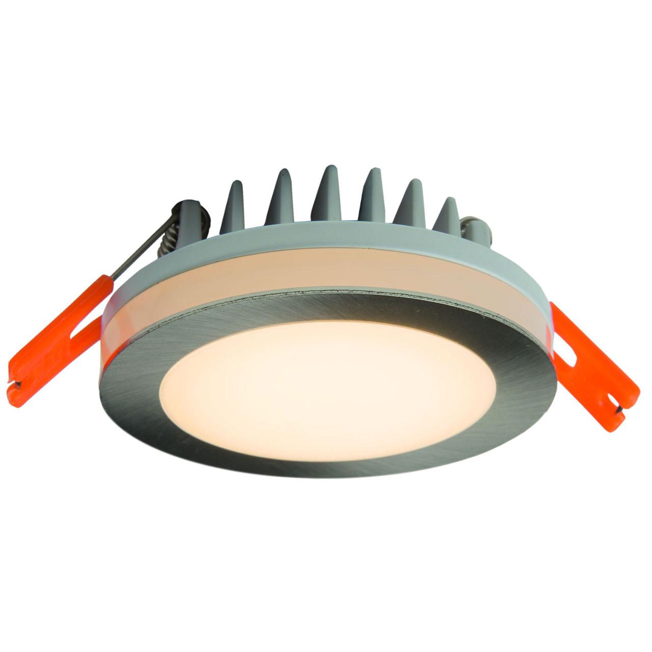 HEITRONIC 6-W-LED-Einbaustrahler rund mit LED-Lichtstreifen- IP44- silber matt