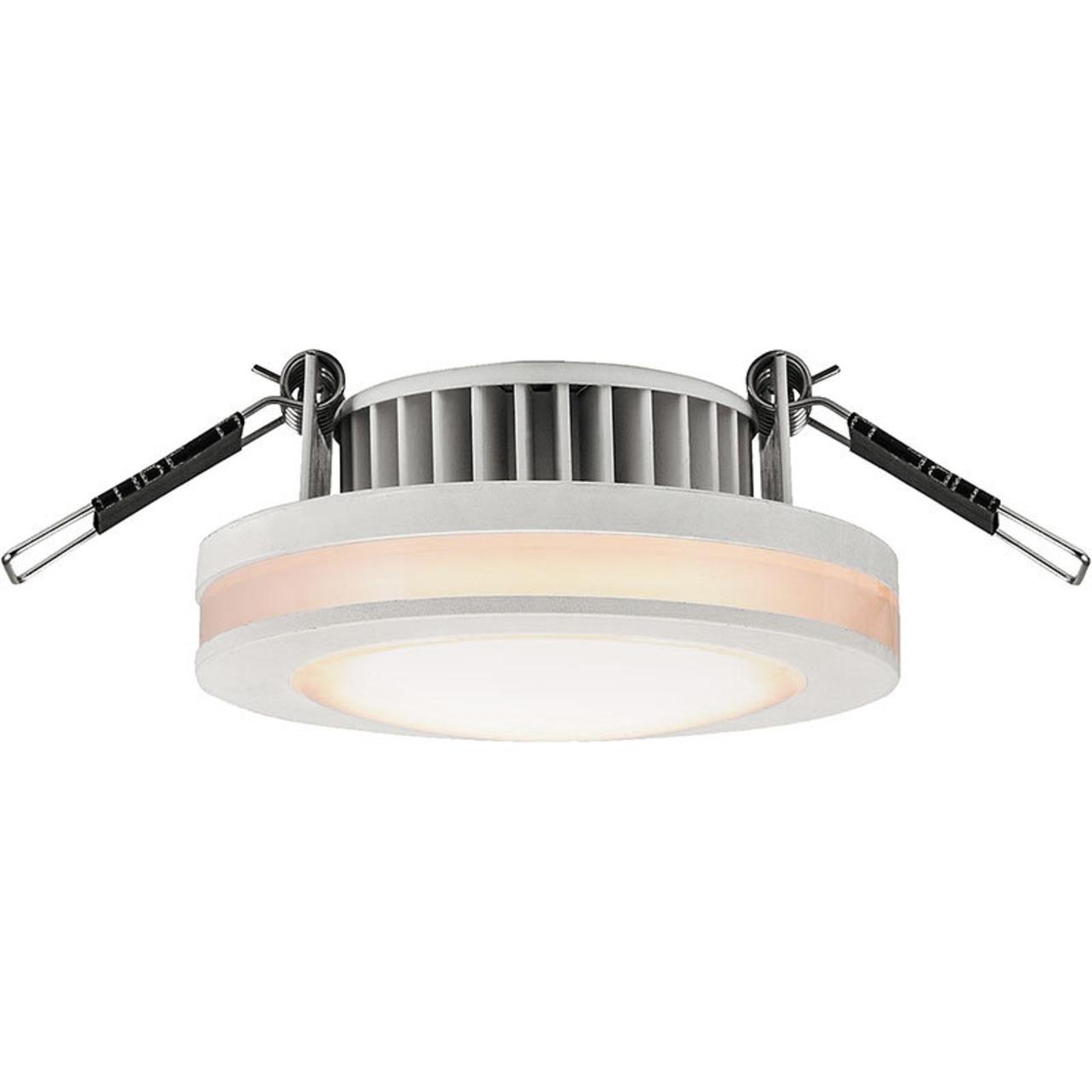 HEITRONIC 6-W-LED-Einbaustrahler rund mit LED-Lichtstreifen- IP44- weiss