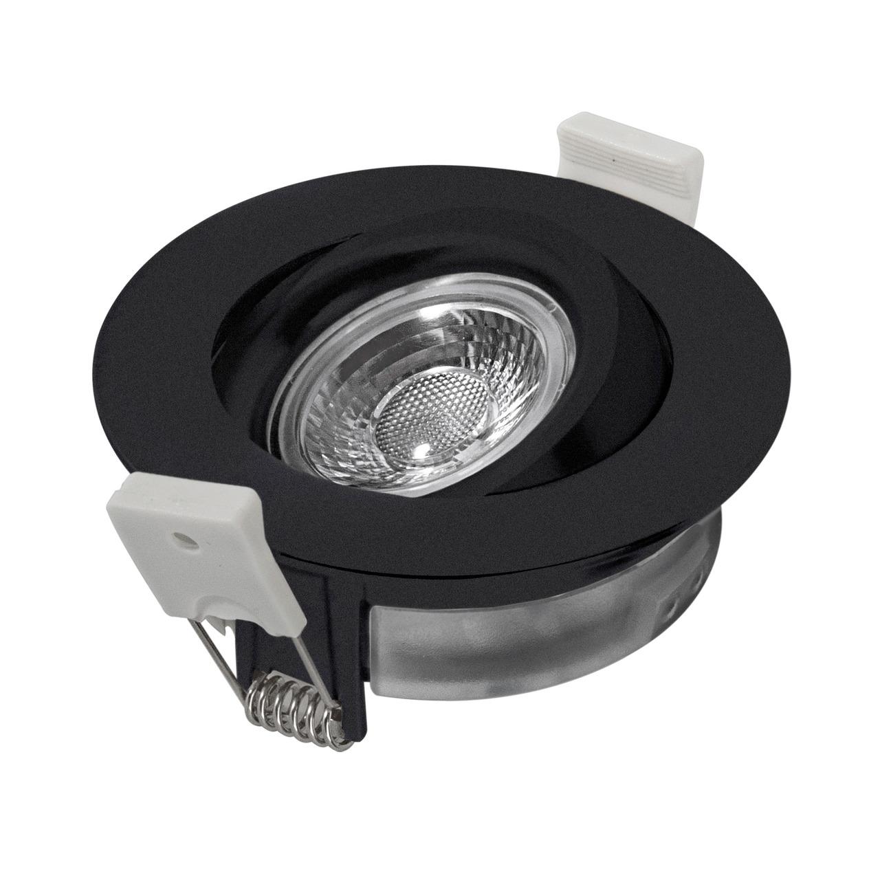 HEITRONIC 7-W-LED-Einbaustrahler DL6809- dimmbar- schwenk- und drehbar- IP44- schwarz
