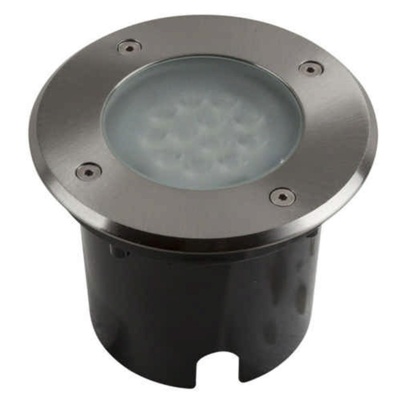 HEITRONIC 9-W-LED-Bodeneinbaustrahler Messina- warmweiss- IP67- durchschleifbar- begehbar- rund