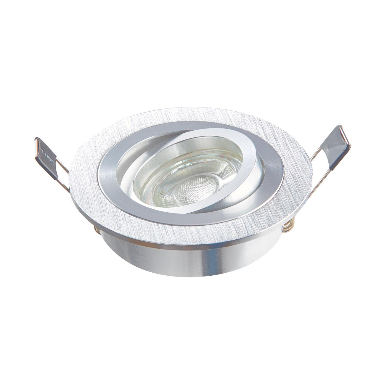 HEITRONIC Einbaustrahler DL7801 für GU10 und GU5-3- schwenkbar- rund- silber