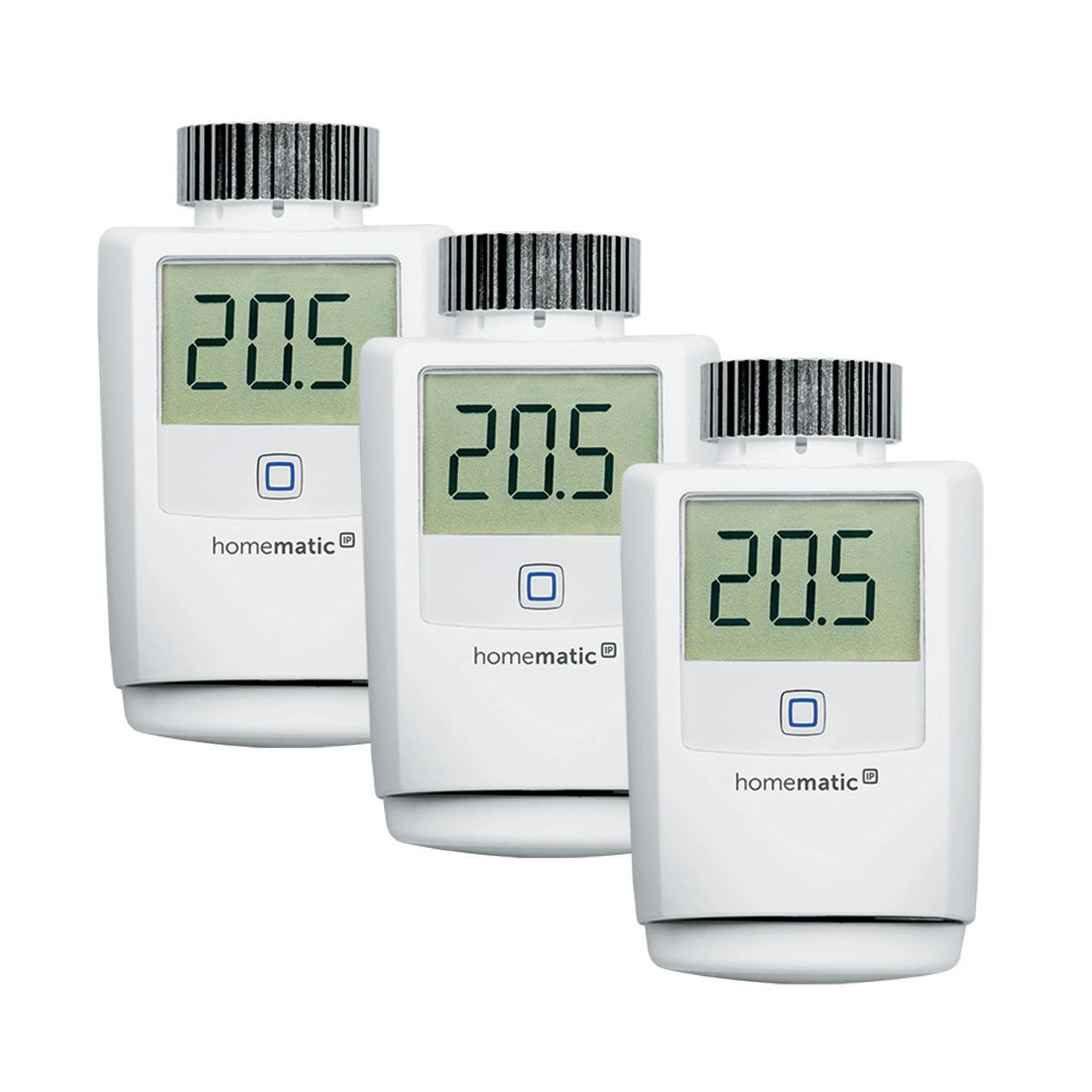 Homematic IP 3er Set Heizkörperthermostat HMIP-eTRV-2 für Smart Home - Hausautomation