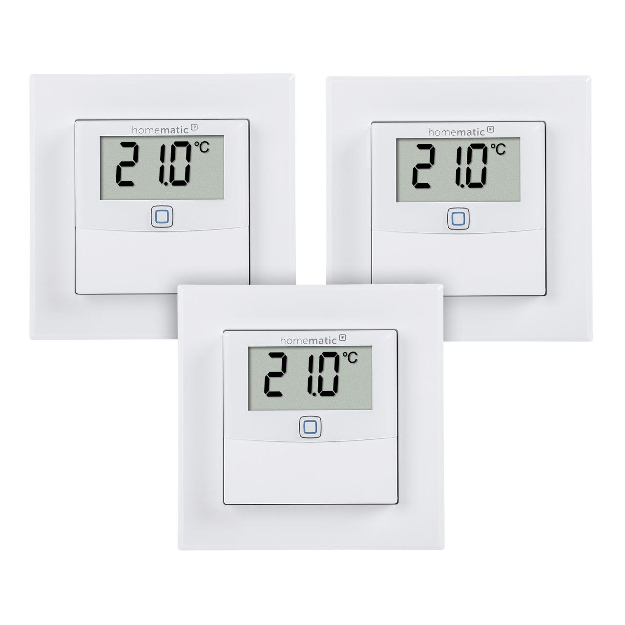 Homematic IP 3er Set Temperatur- und Luftfeuchtigkeitssensor mit Display- innen
