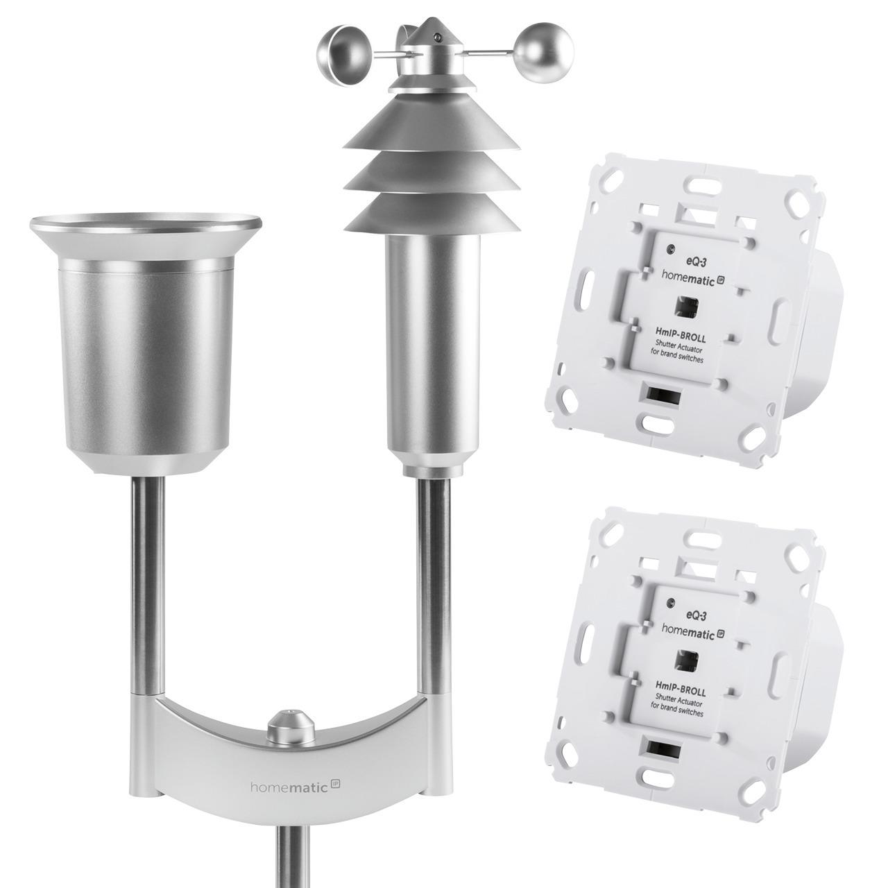 Homematic IP Erweiterungsset Wetterschutz mit 2x Rollladenaktor und Wettersensor Plus