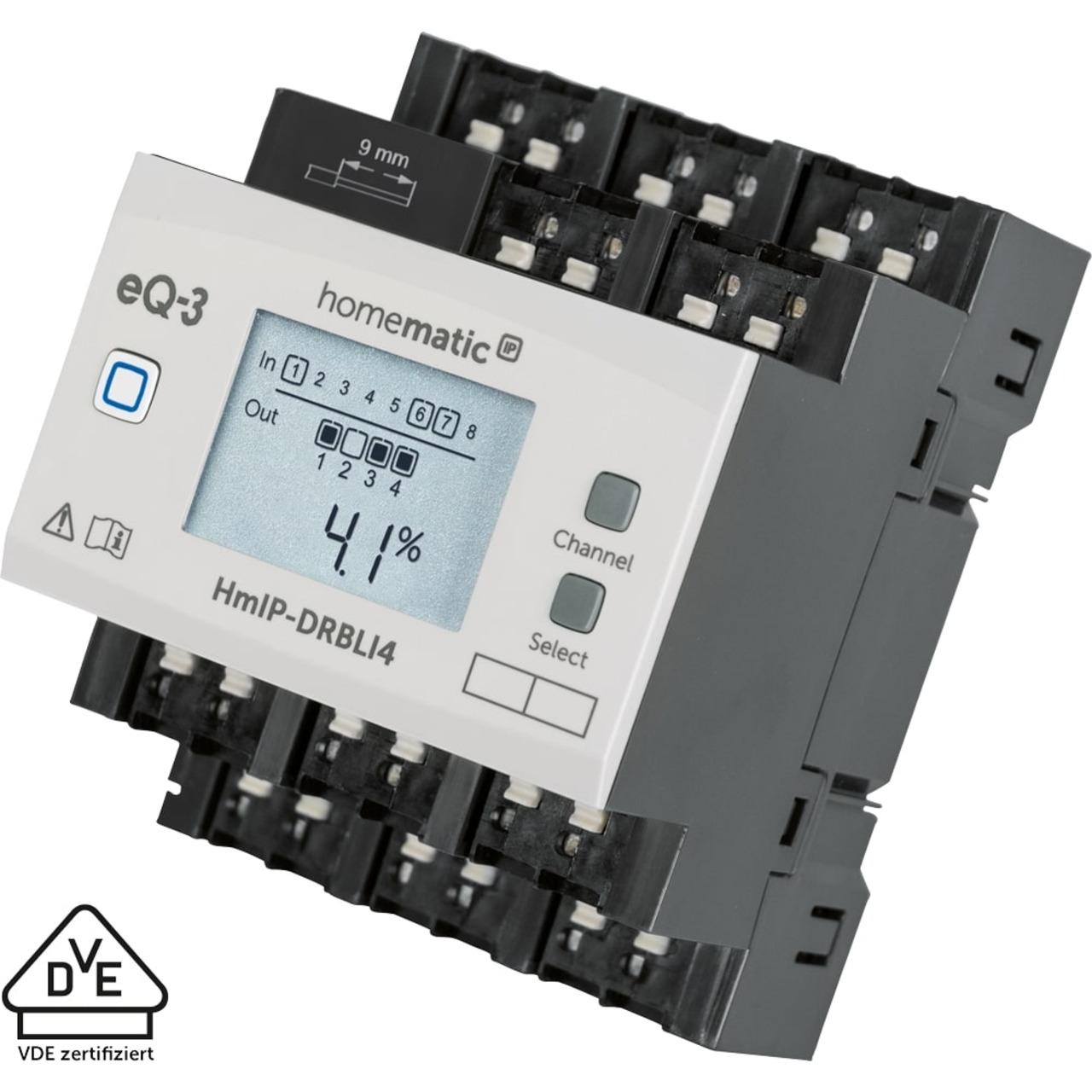 Homematic IP Jalousieaktor für Hutschienenmontage HmIP-DRBLI4- 4-fach