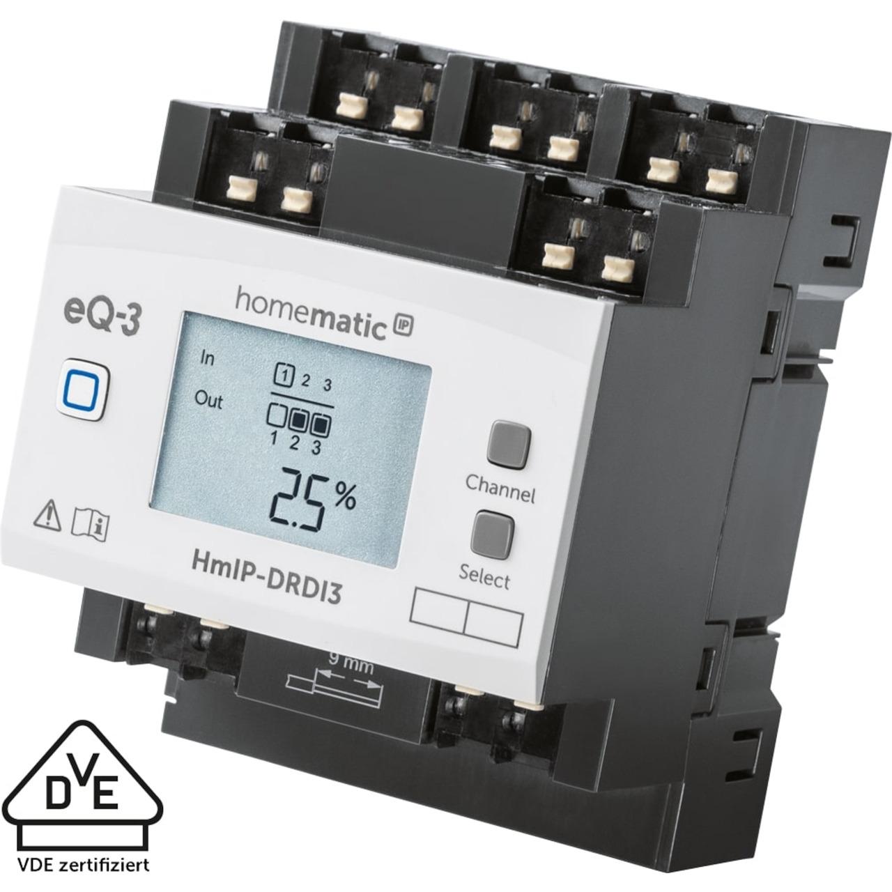 Homematic IP Smart Home Funk-Dimmaktor für Hutschienenmontage- HmIP-DRDI3- 3-fach