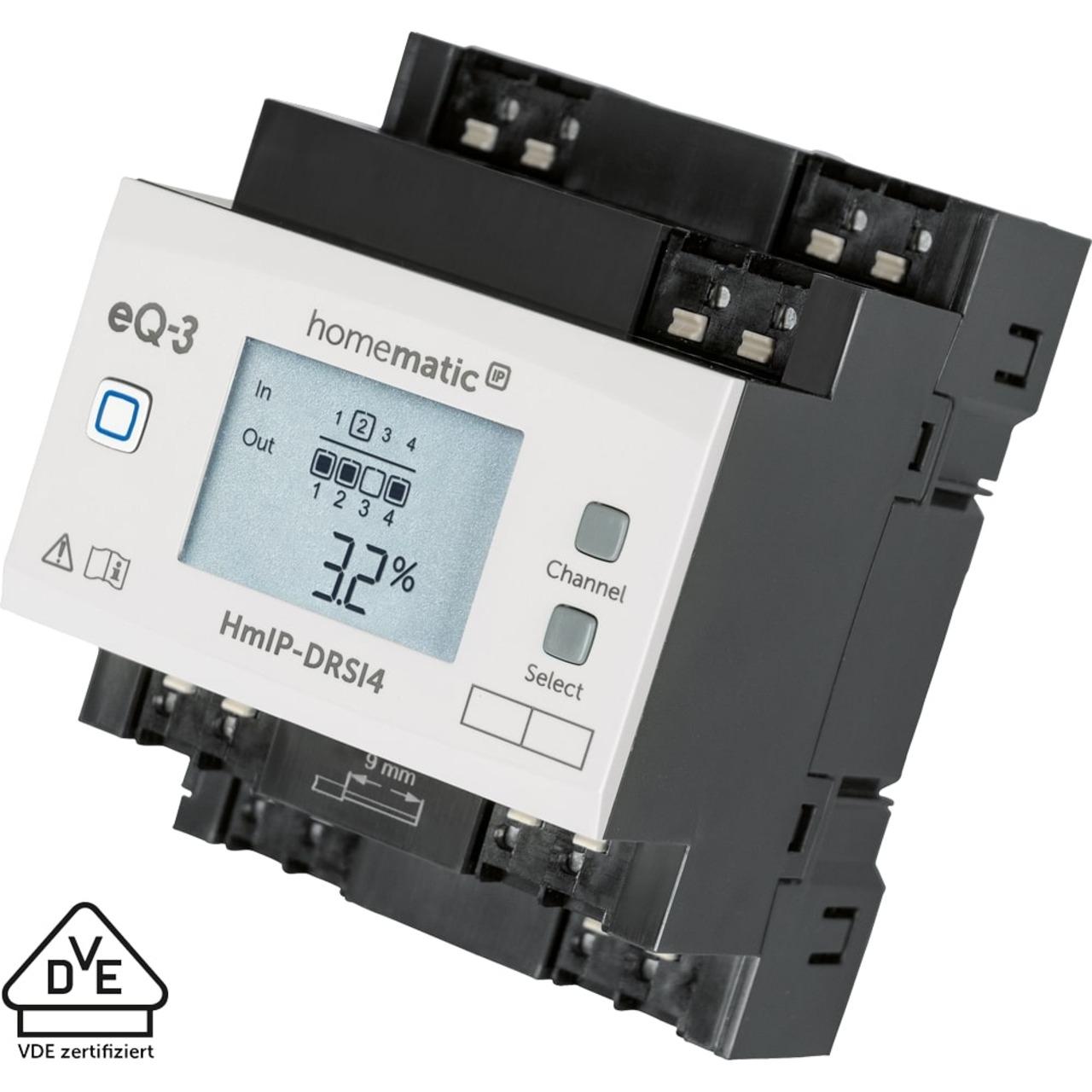 Homematic IP Smart Home Funk-Schaltaktor für Hutschienenmontage HmIP-DRSI4- 4-fach