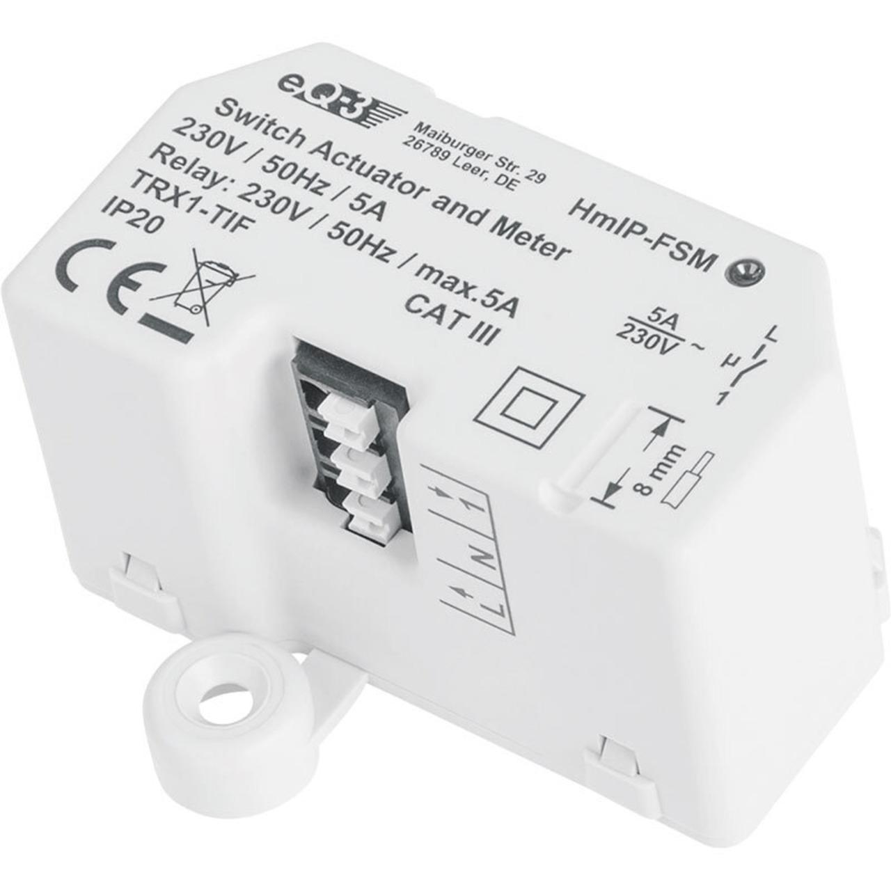 Homematic IP Smart Home Schalt-Mess-Aktor HmIP-FSM- 5 A- Unterputz