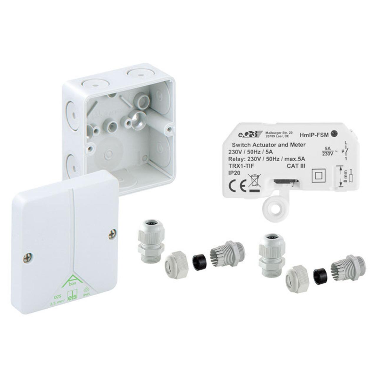 Homematic IP Smart Home Schalt-Mess-Aktor HmIP-FSM für den Aussenbereich inkl- Verteilerdose ABOX
