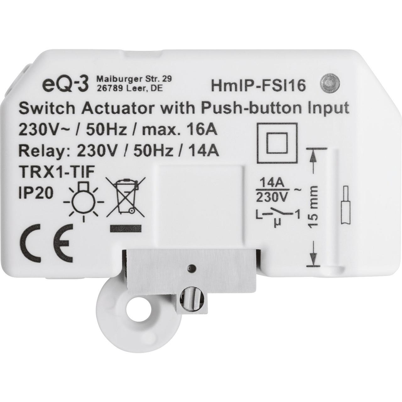 Homematic IP Smart Home Schaltaktor mit Tastereingang (16 A) HmIP-FSI16- Unterputz