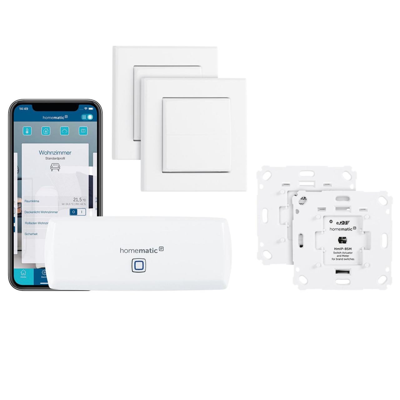 Homematic IP Smart Home Set Beleuchtung mit WLAN-HAP- 2x Schalt-Mess-Aktor- 2x Tasterwippe