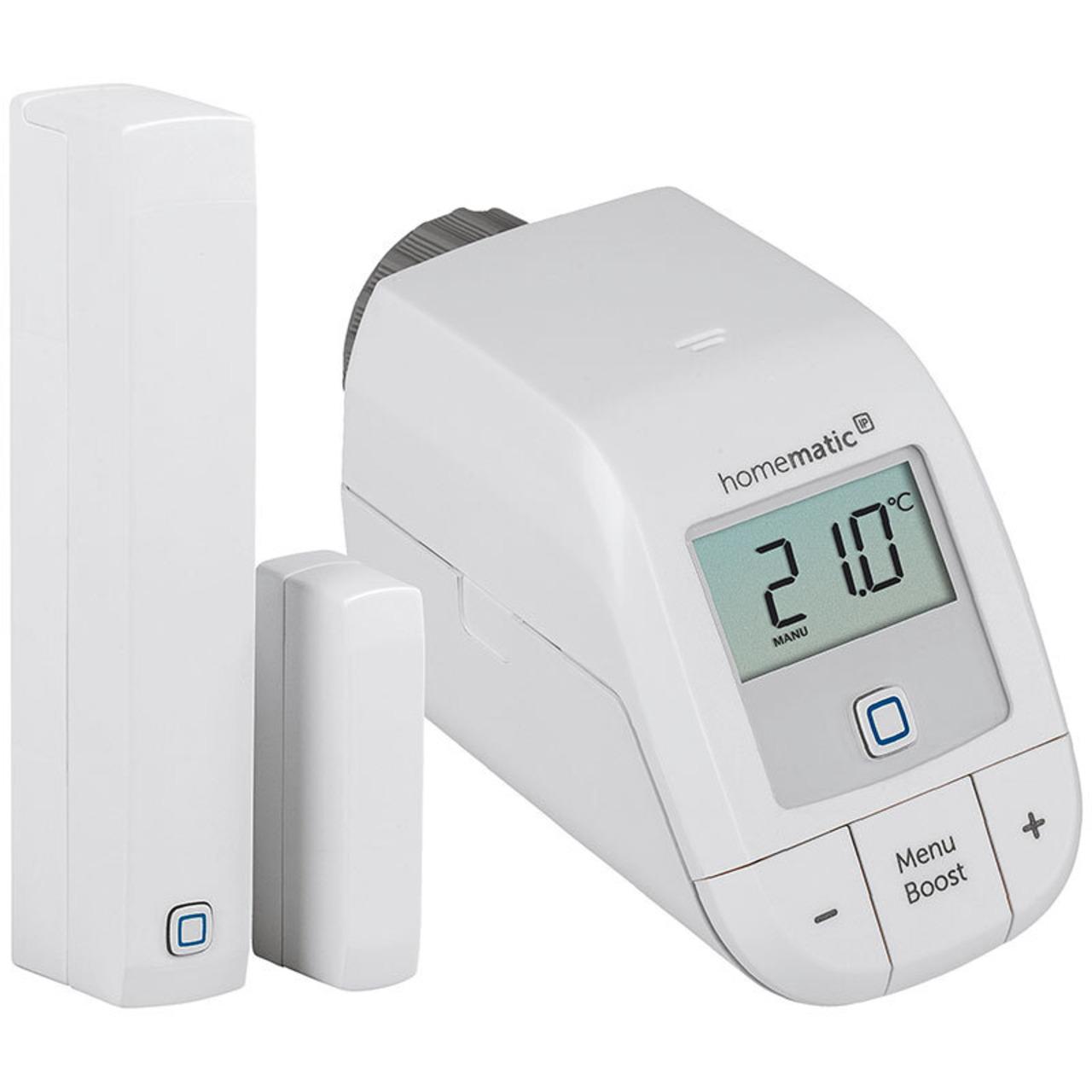 Homematic IP Smart Home Set Heizen - easy connect- Heizkörperthermostat und Fenster- und Türkontakt